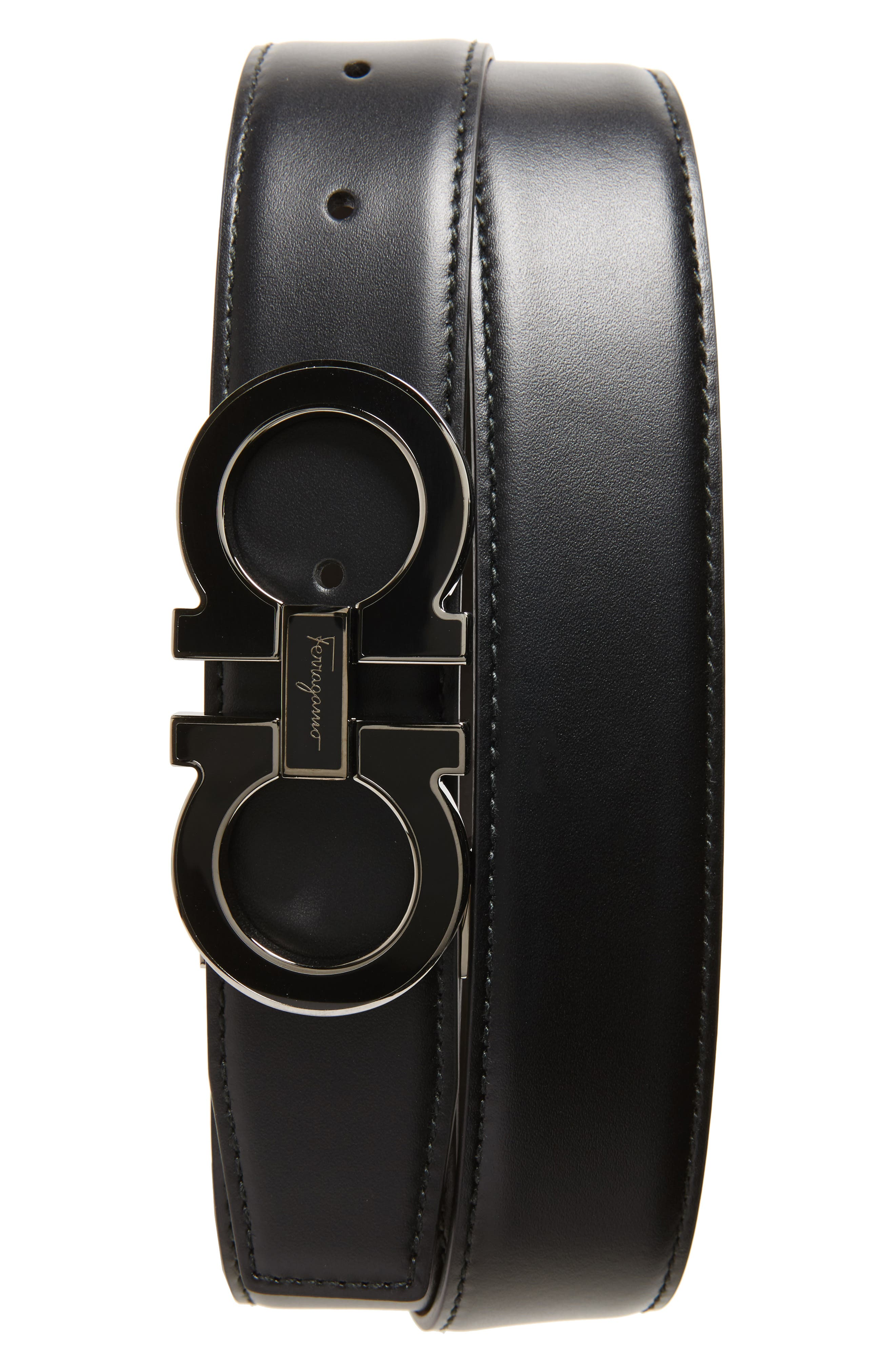 SALVATORE FERRAGAMO, Double Gancio Leather Belt, Main thumbnail 1, color, BLACK