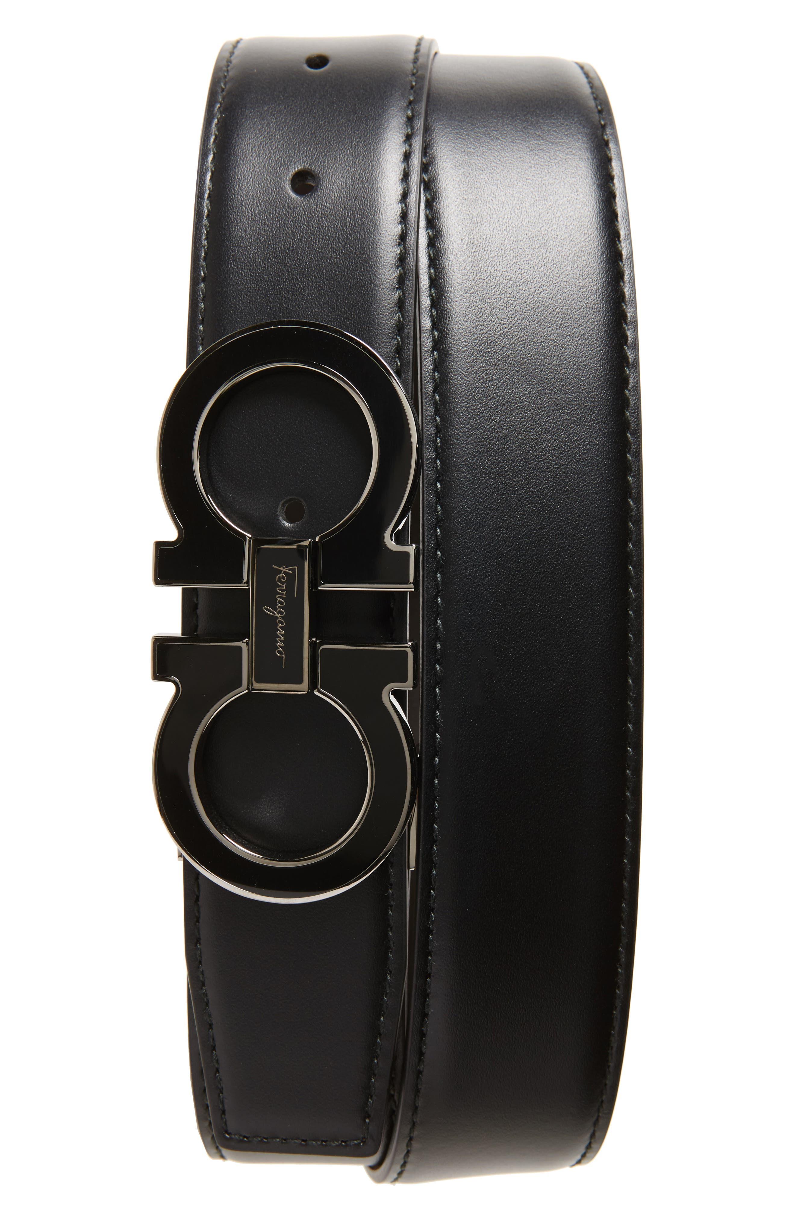SALVATORE FERRAGAMO Double Gancio Leather Belt, Main, color, BLACK