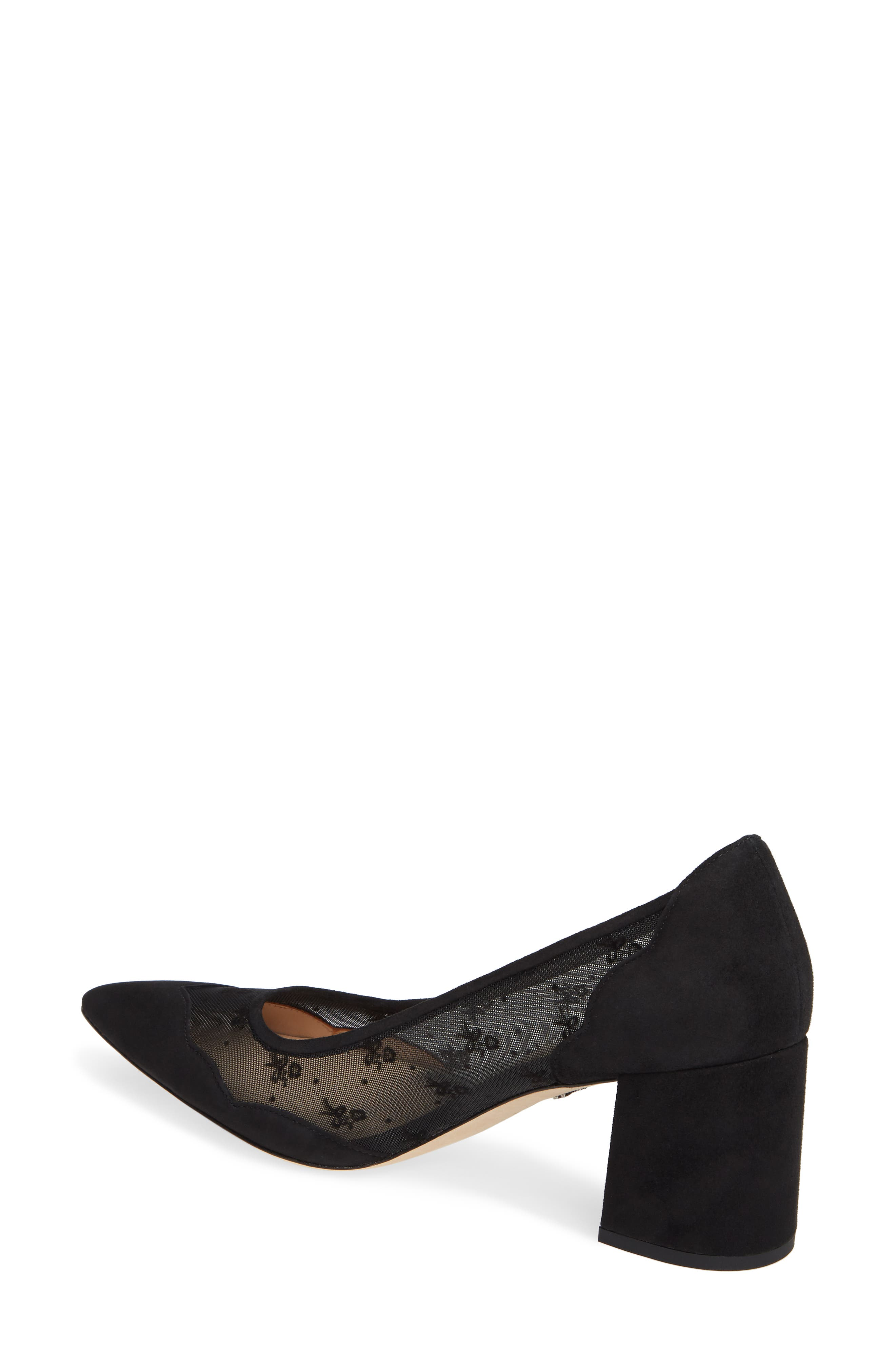 COACH, Whitley Scallop Pointy Toe Pump, Alternate thumbnail 2, color, BLACK SUEDE