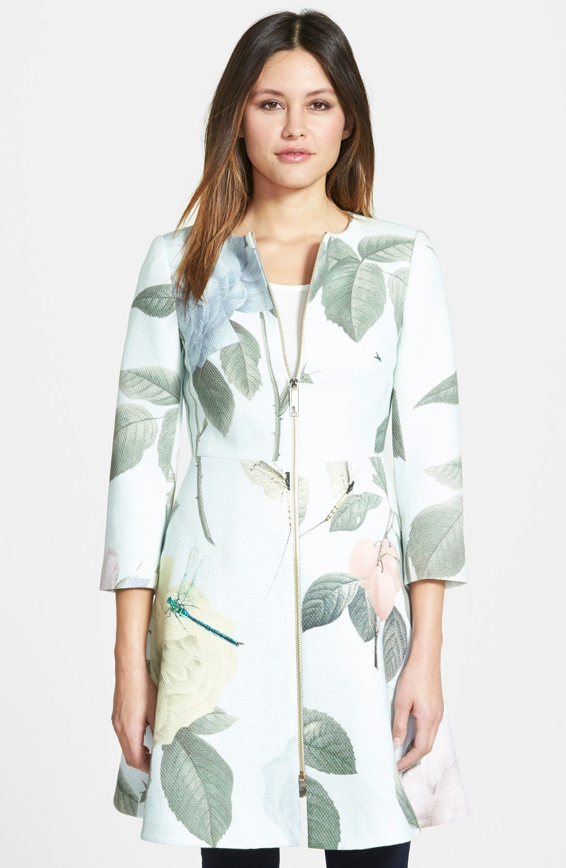 TED BAKER LONDON, Rose Print Textured Fit & Flare Jacket, Main thumbnail 1, color, 331