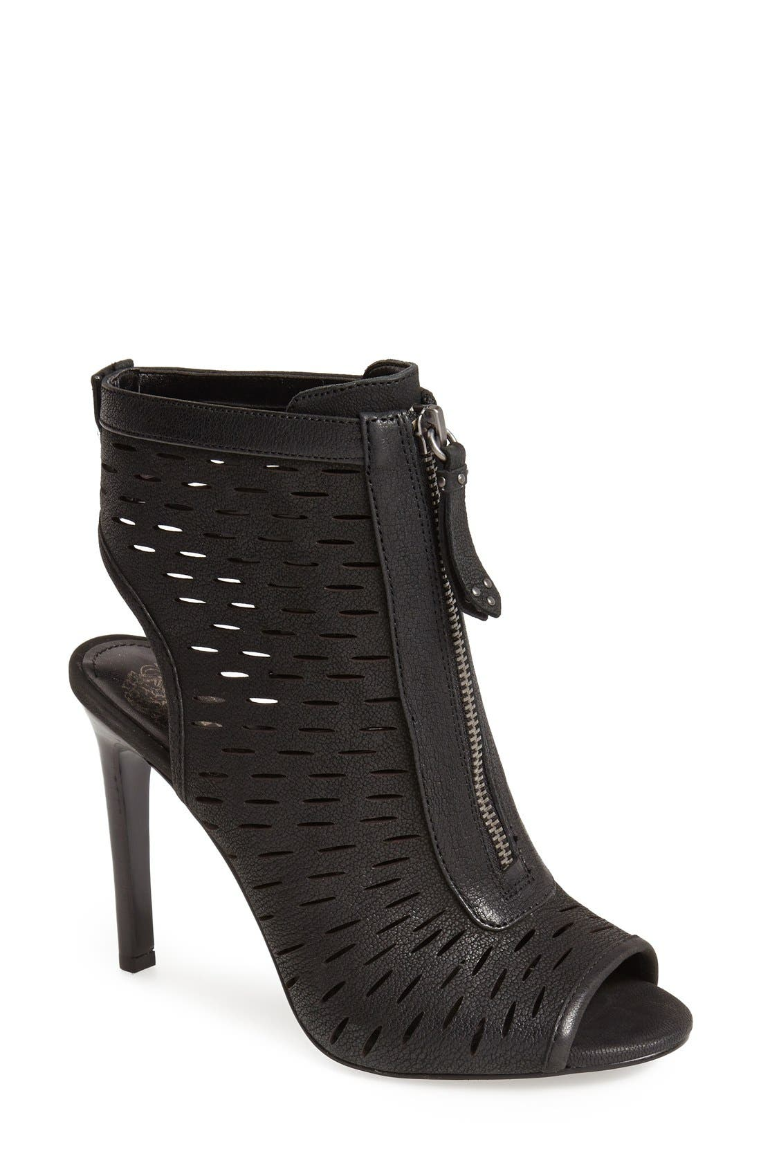 VINCE CAMUTO, 'Waver' Peep Toe Bootie, Main thumbnail 1, color, 001