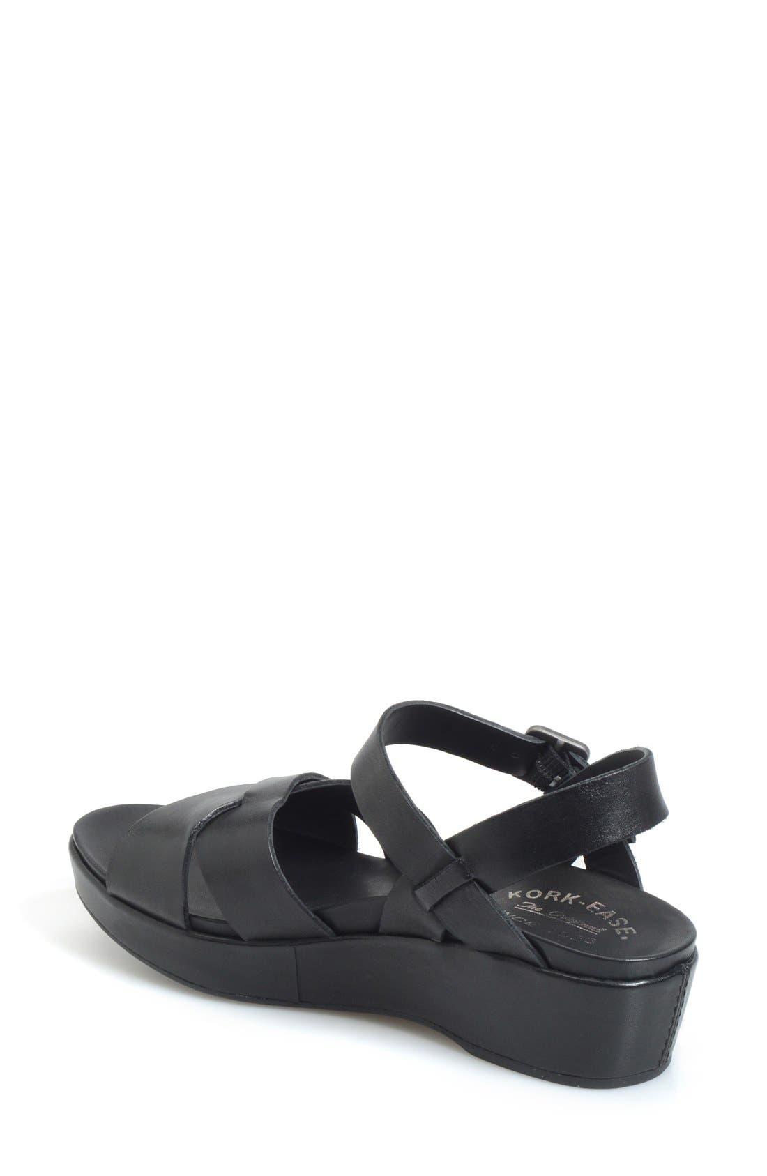 KORK-EASE<SUP>®</SUP>, 'Myrna 2.0' Cork Wedge Sandal, Alternate thumbnail 2, color, BLACK LEATHER