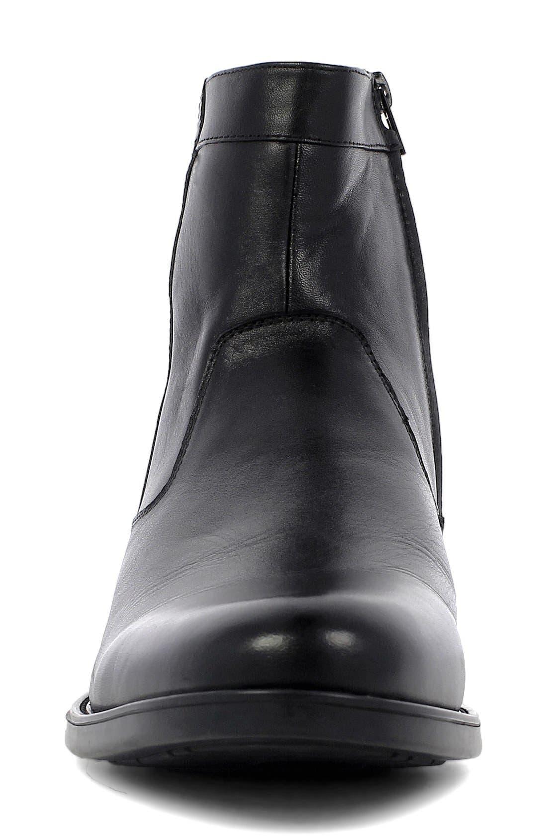 FLORSHEIM, 'Midtown' Zip Boot, Alternate thumbnail 3, color, BLACK LEATHER