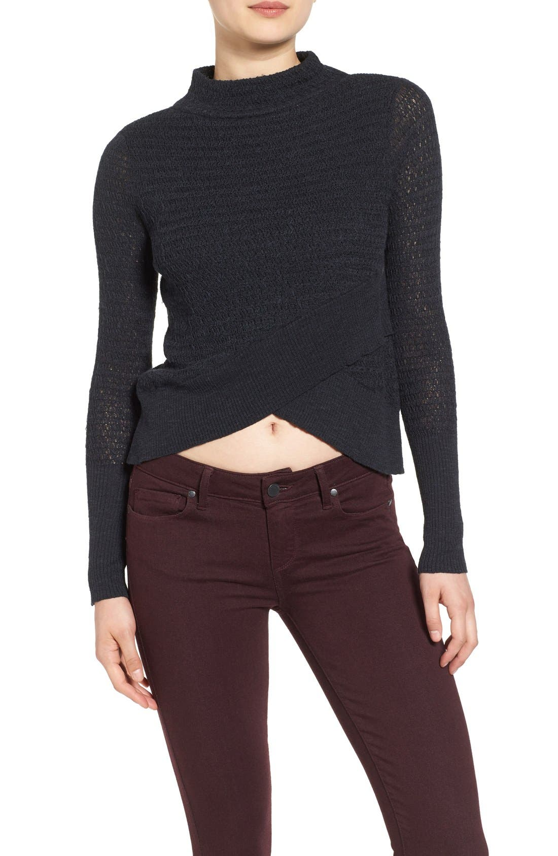 FREE PEOPLE, Crossover Sweater, Alternate thumbnail 2, color, 001