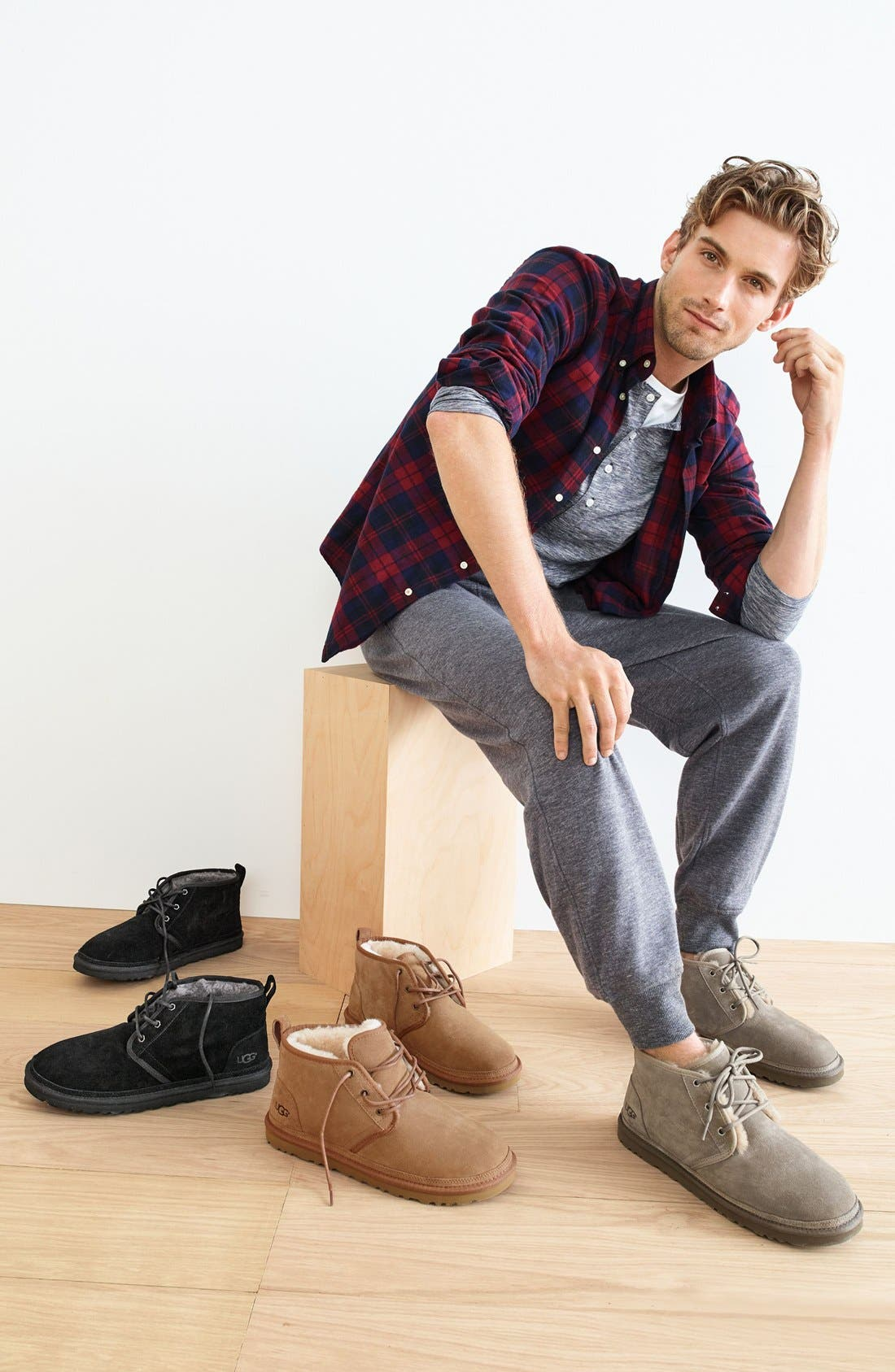 UGG<SUP>®</SUP>, Neumel Chukka Boot, Alternate thumbnail 6, color, CHARCOAL SUEDE