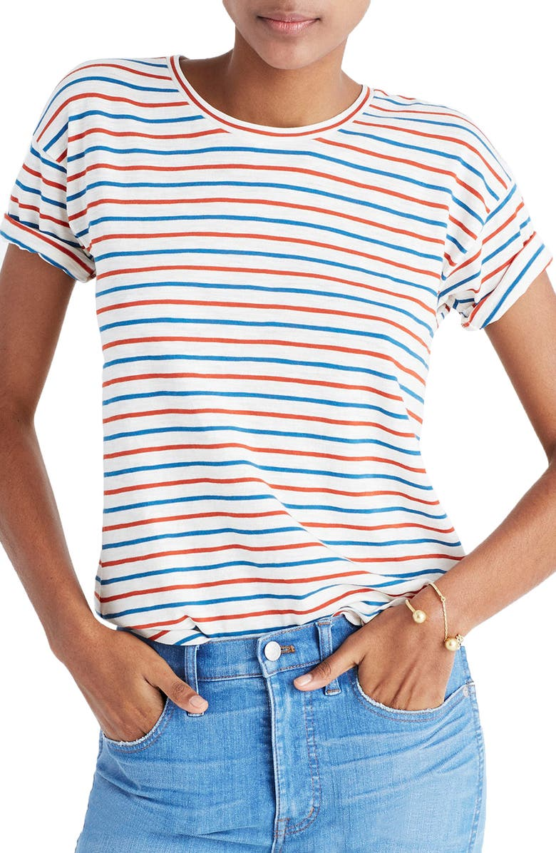 MADEWELL Whisper Cotton Stripe Crewneck Tee, Main, color, BRIGHT IVORY
