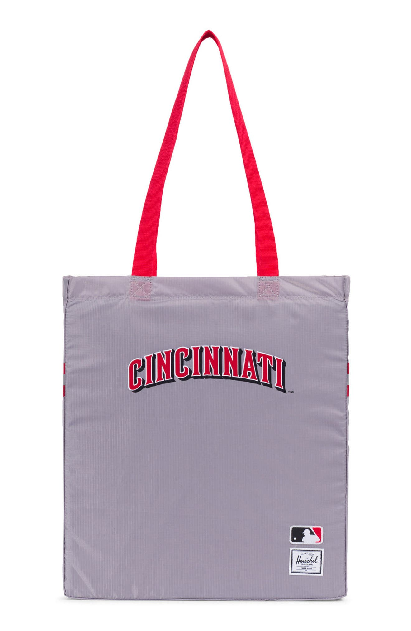 HERSCHEL SUPPLY CO., Packable - MLB National League Tote Bag, Main thumbnail 1, color, CINCINNATI REDS