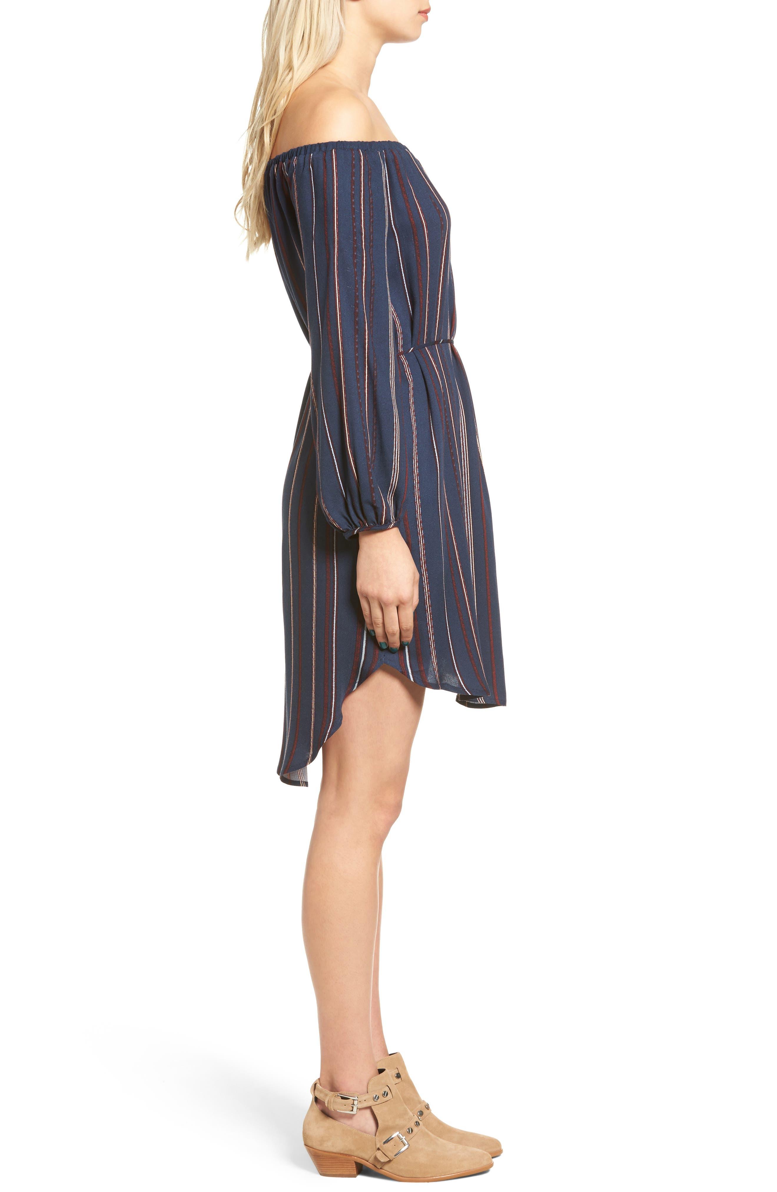 ---, Stripe Off the Shoulder Shirtdress, Alternate thumbnail 3, color, 400