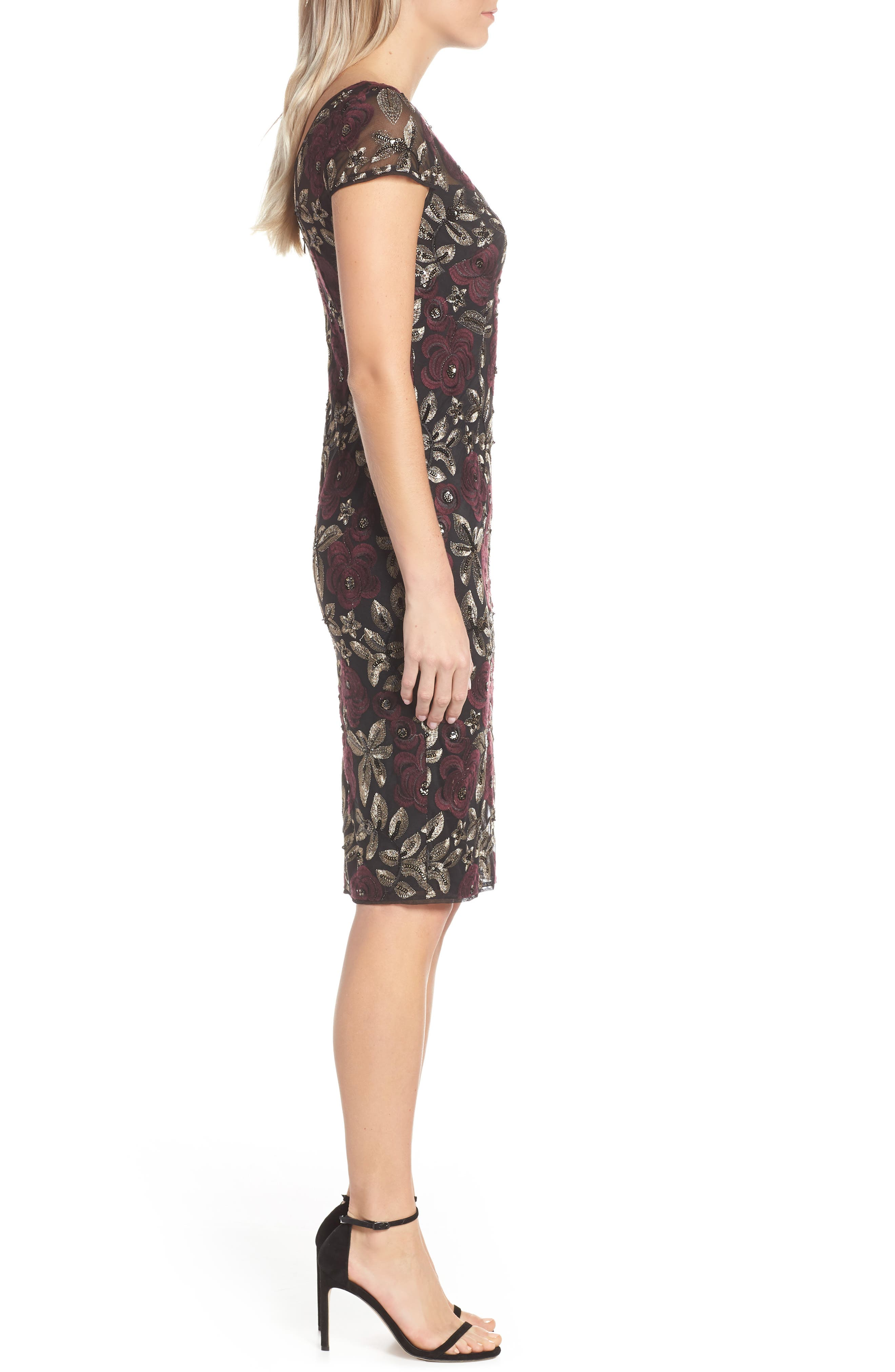 ADRIANNA PAPELL, Sequin Embroidered Cocktail Dress, Alternate thumbnail 4, color, 930