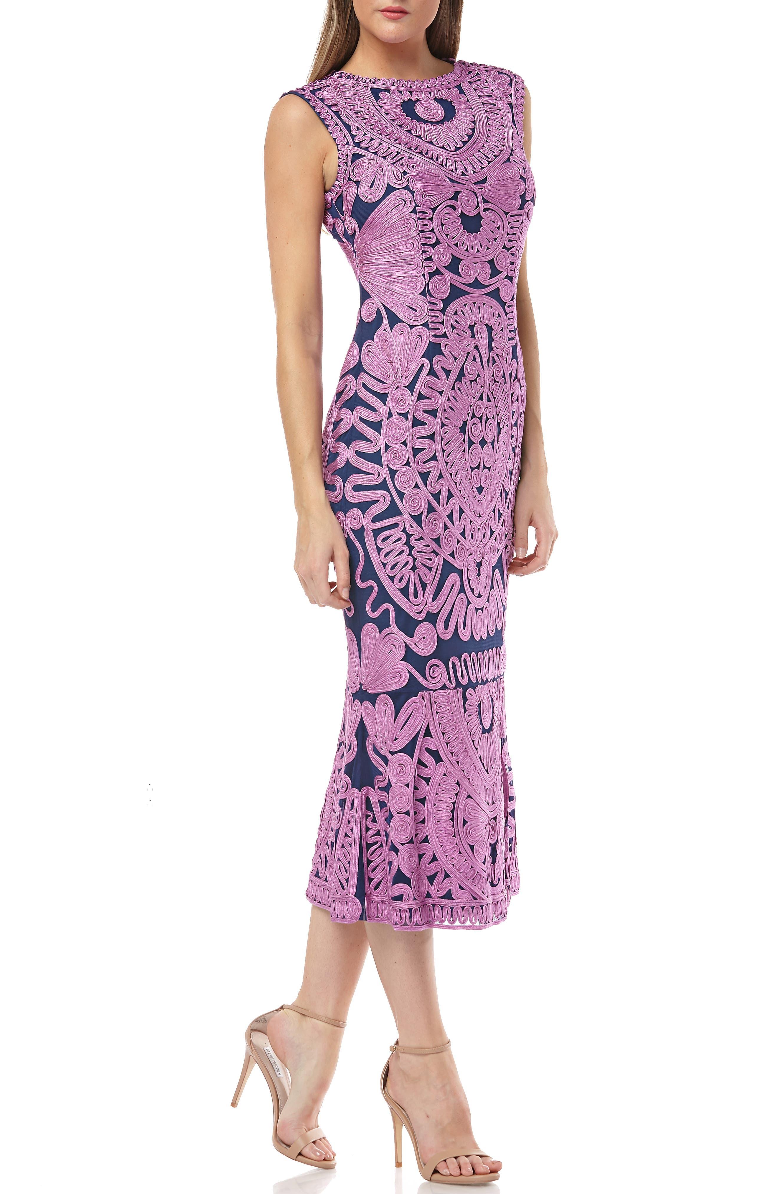 Js Collections Soutache Mesh Dress, Purple