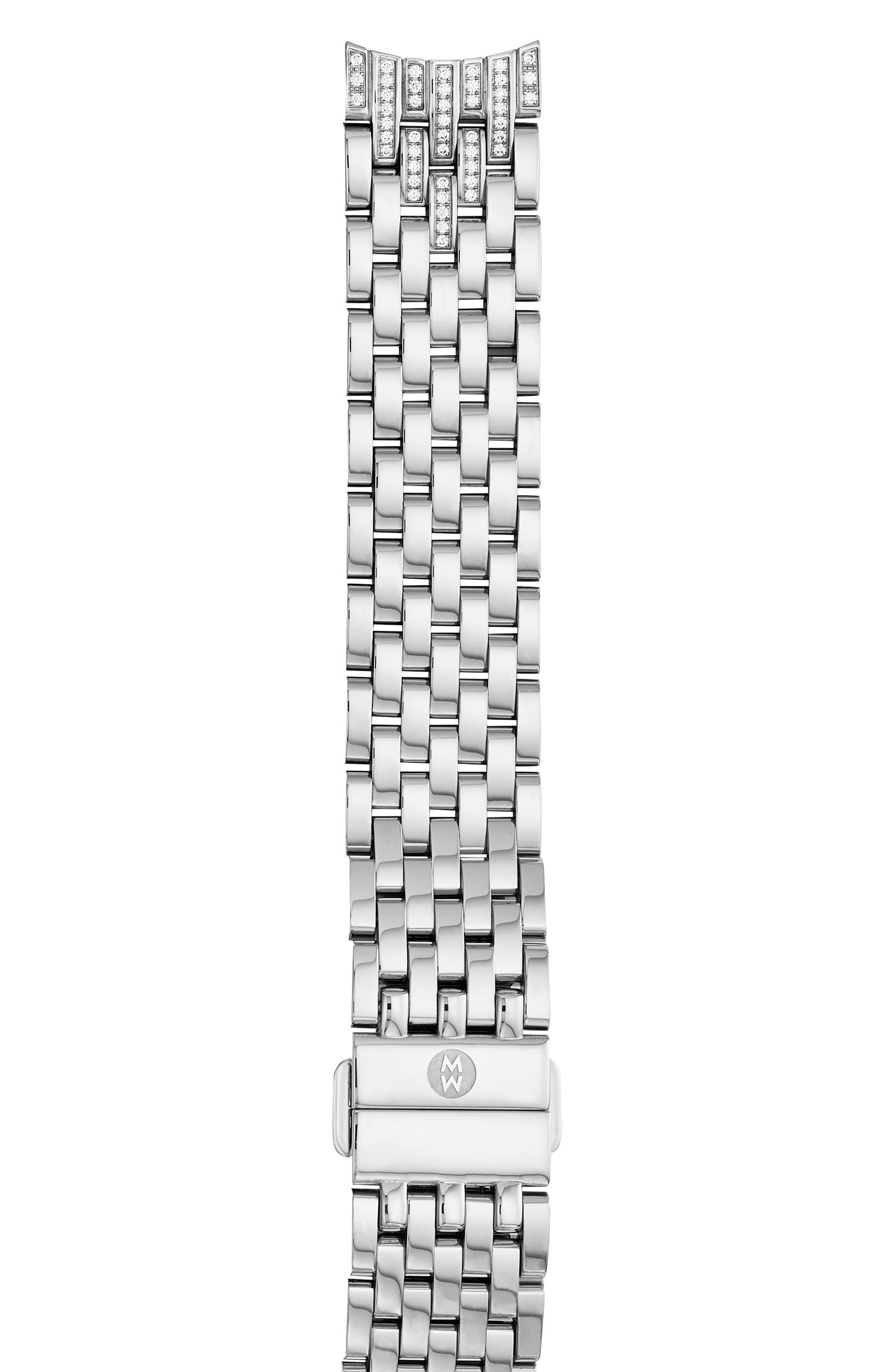 MICHELE Sidney Diamond 18mm Bracelet Watch Band, Main, color, SILVER