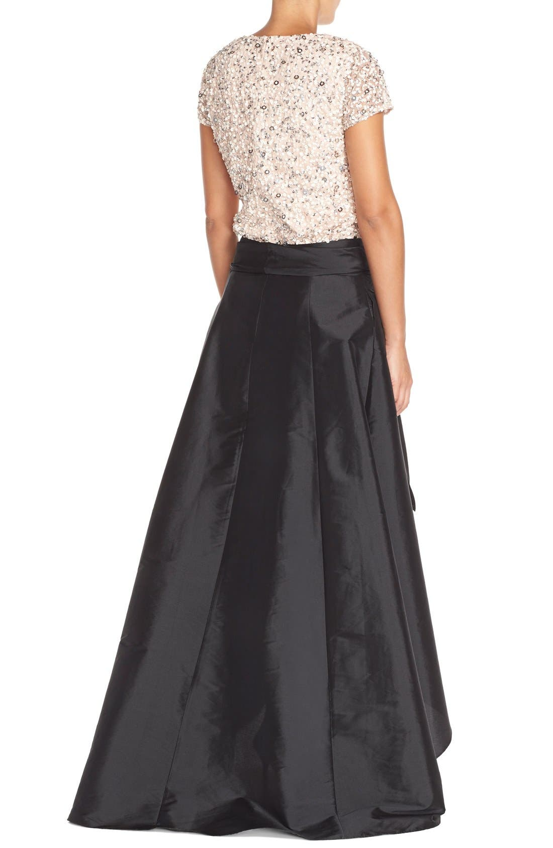 ADRIANNA PAPELL, High/Low Taffeta Ball Skirt, Alternate thumbnail 5, color, 001