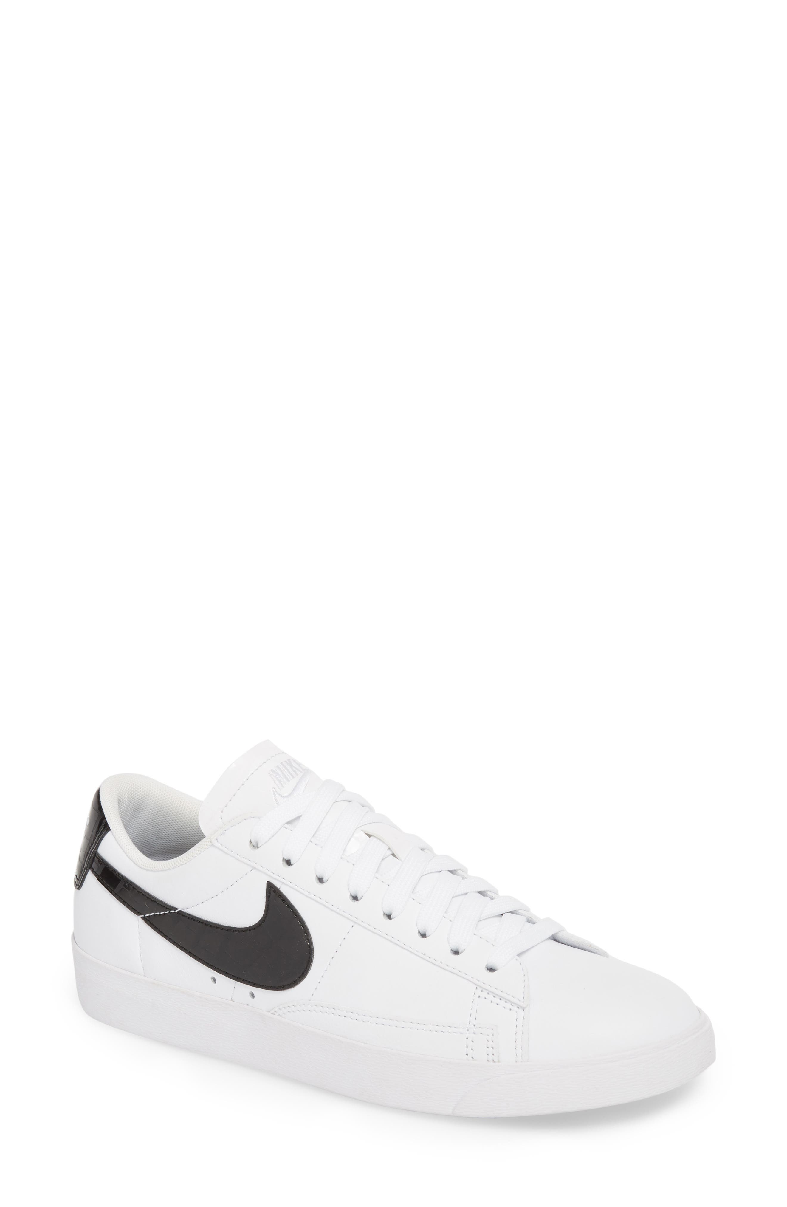 NIKE, Blazer Low Essential Sneaker, Main thumbnail 1, color, 100