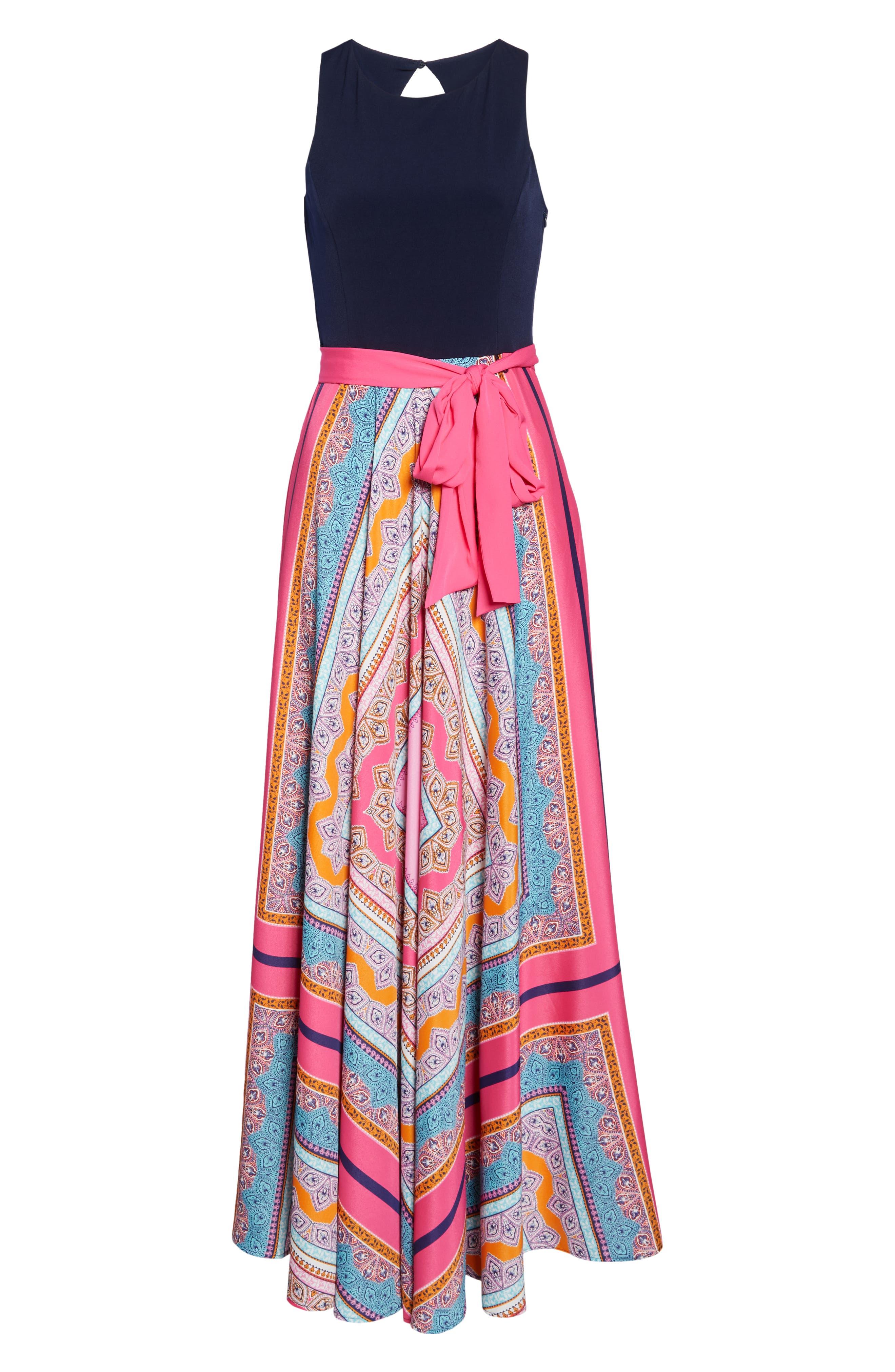 ELIZA J, Scarf Print Jersey & Crêpe de Chine Maxi Dress, Alternate thumbnail 7, color, PINK