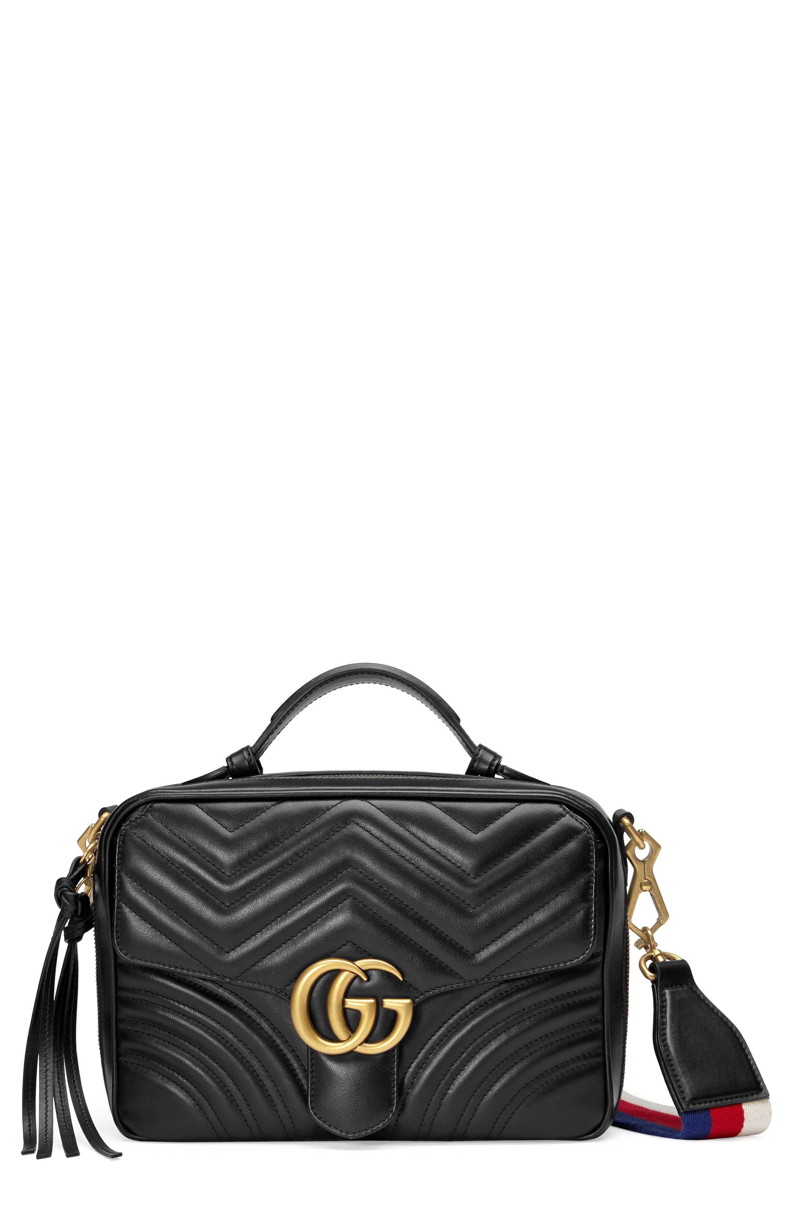 GUCCI, Small GG Marmont 2.0 Matelassé Leather Camera Bag with Webbed Strap, Main thumbnail 1, color, NERO/ WHITE/ HIBISCUS RED