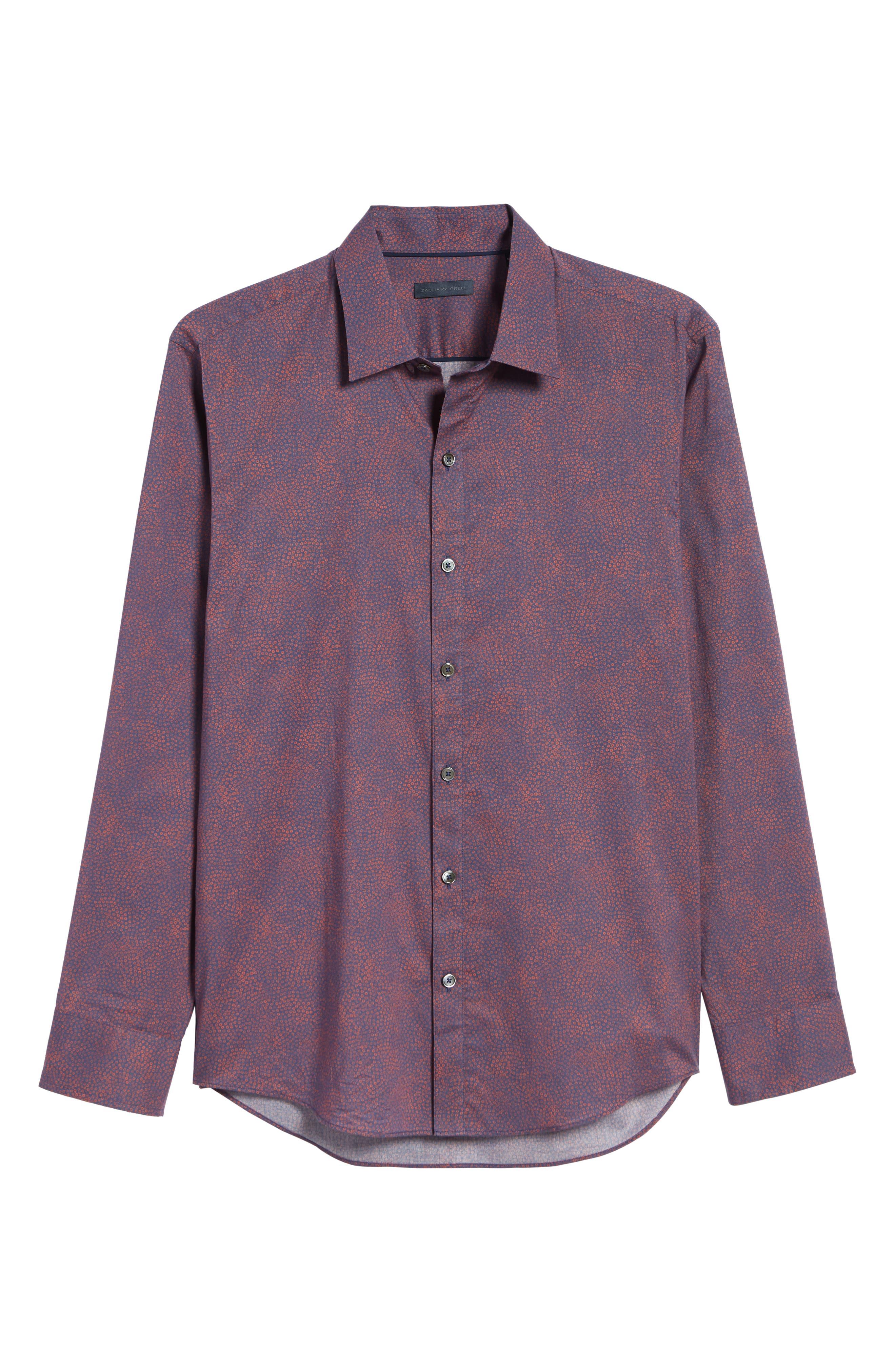 ZACHARY PRELL, Maryna Regular Fit Floral Print Sport Shirt, Alternate thumbnail 5, color, ORANGE