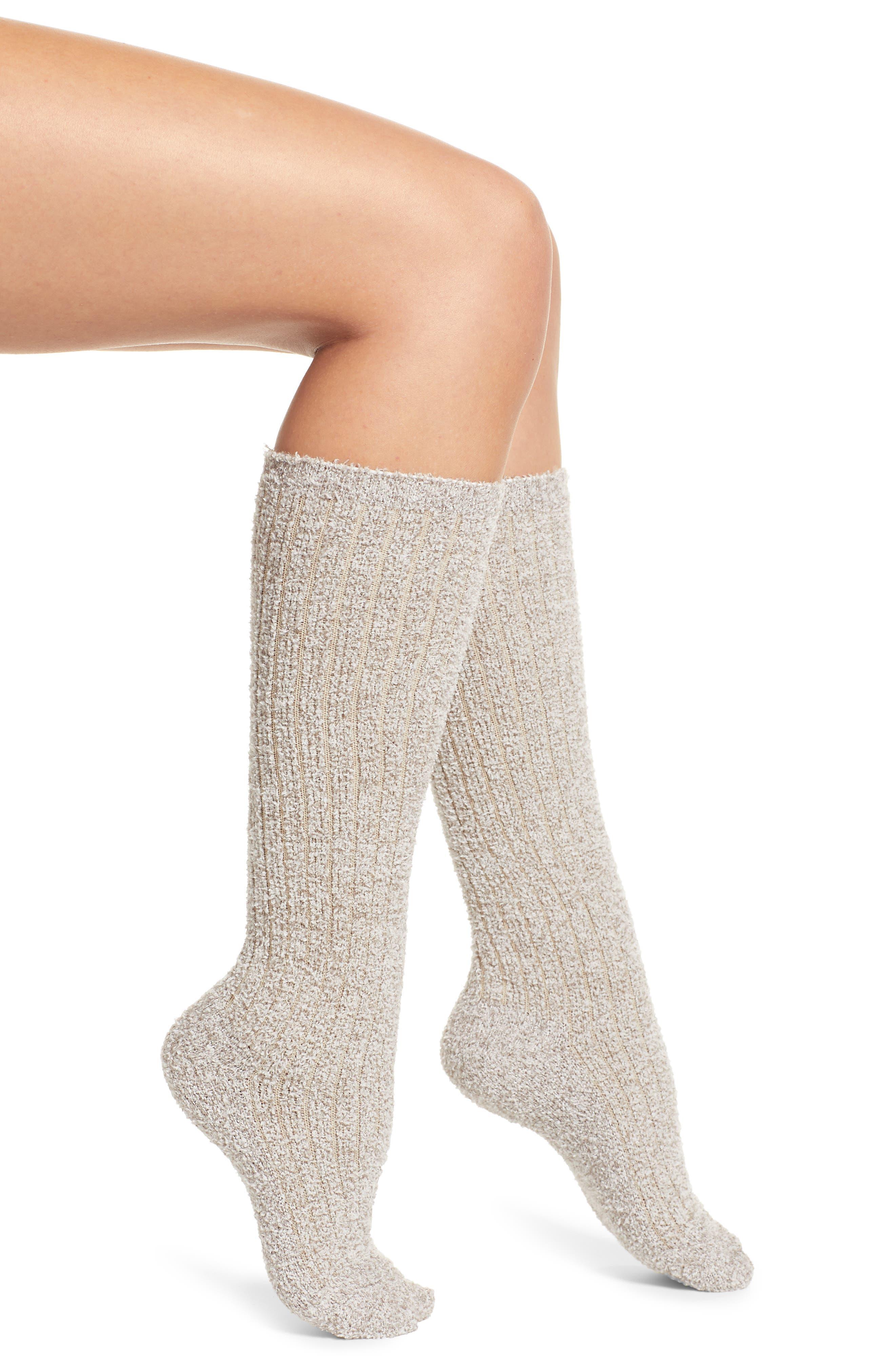BAREFOOT DREAMS<SUP>®</SUP> CozyChic<sup>™</sup> Rib Knee High Socks, Main, color, HE BEACH ROCK/ ALMOND