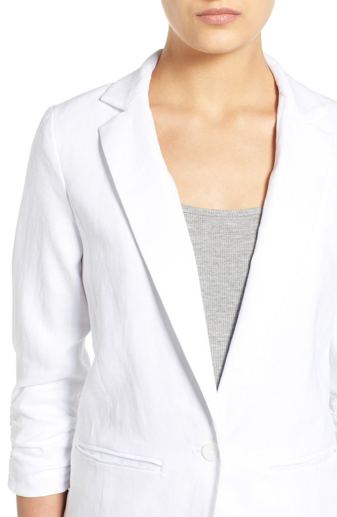 MICHAEL MICHAEL KORS, Linen Shirred Sleeve Boyfriend Jacket, Alternate thumbnail 3, color, 100