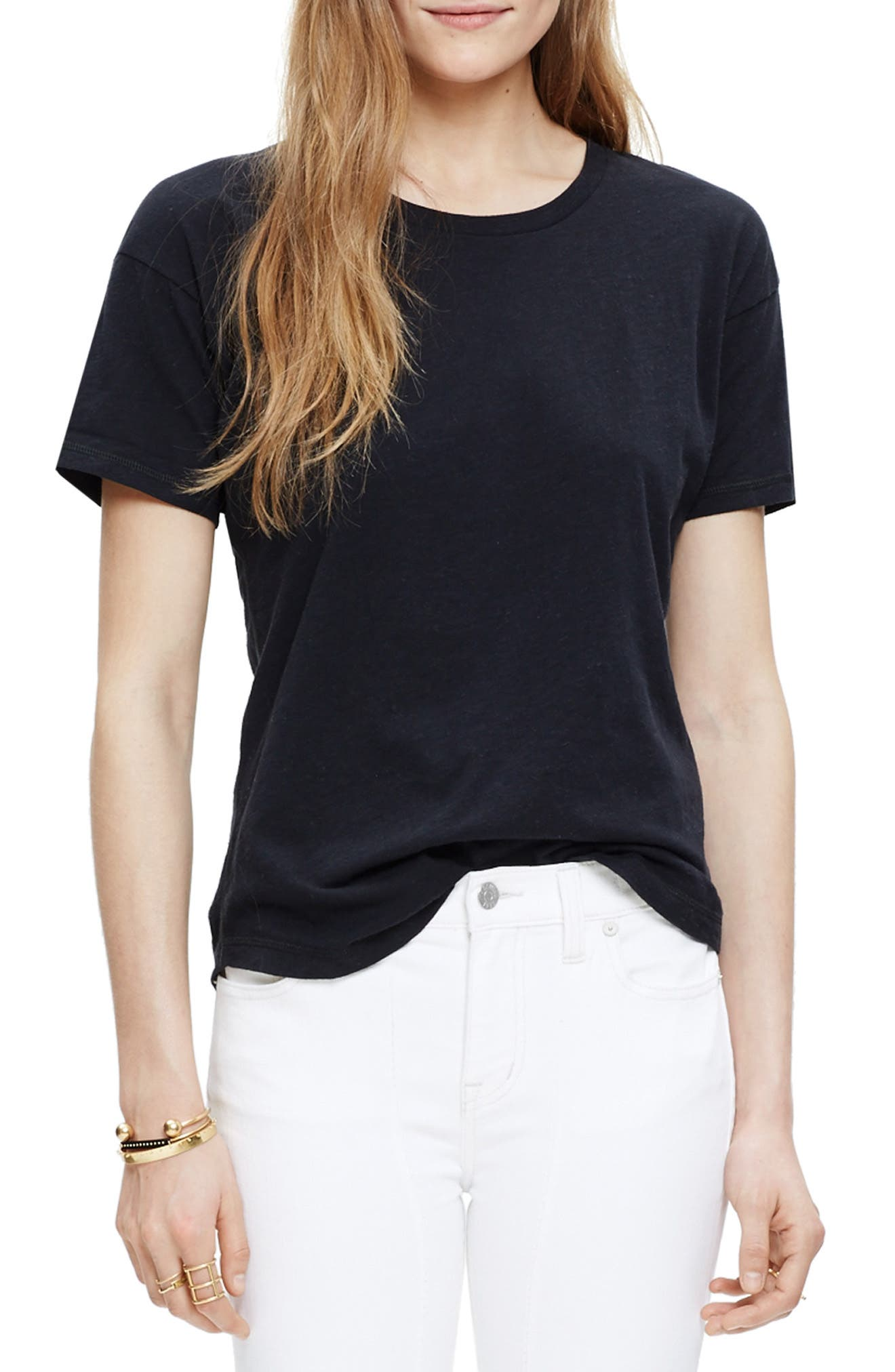 MADEWELL 'Whisper' Cotton Crewneck Tee, Main, color, TRUE BLACK