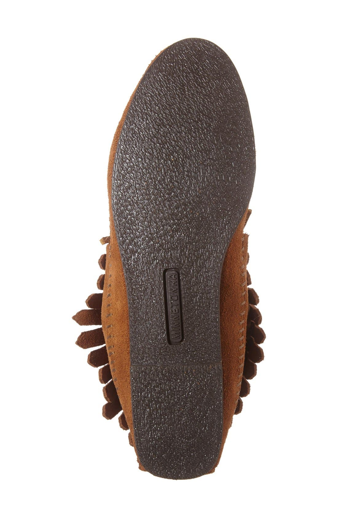 MINNETONKA, Classic Fringed Chukka Style Boot, Alternate thumbnail 4, color, BROWN