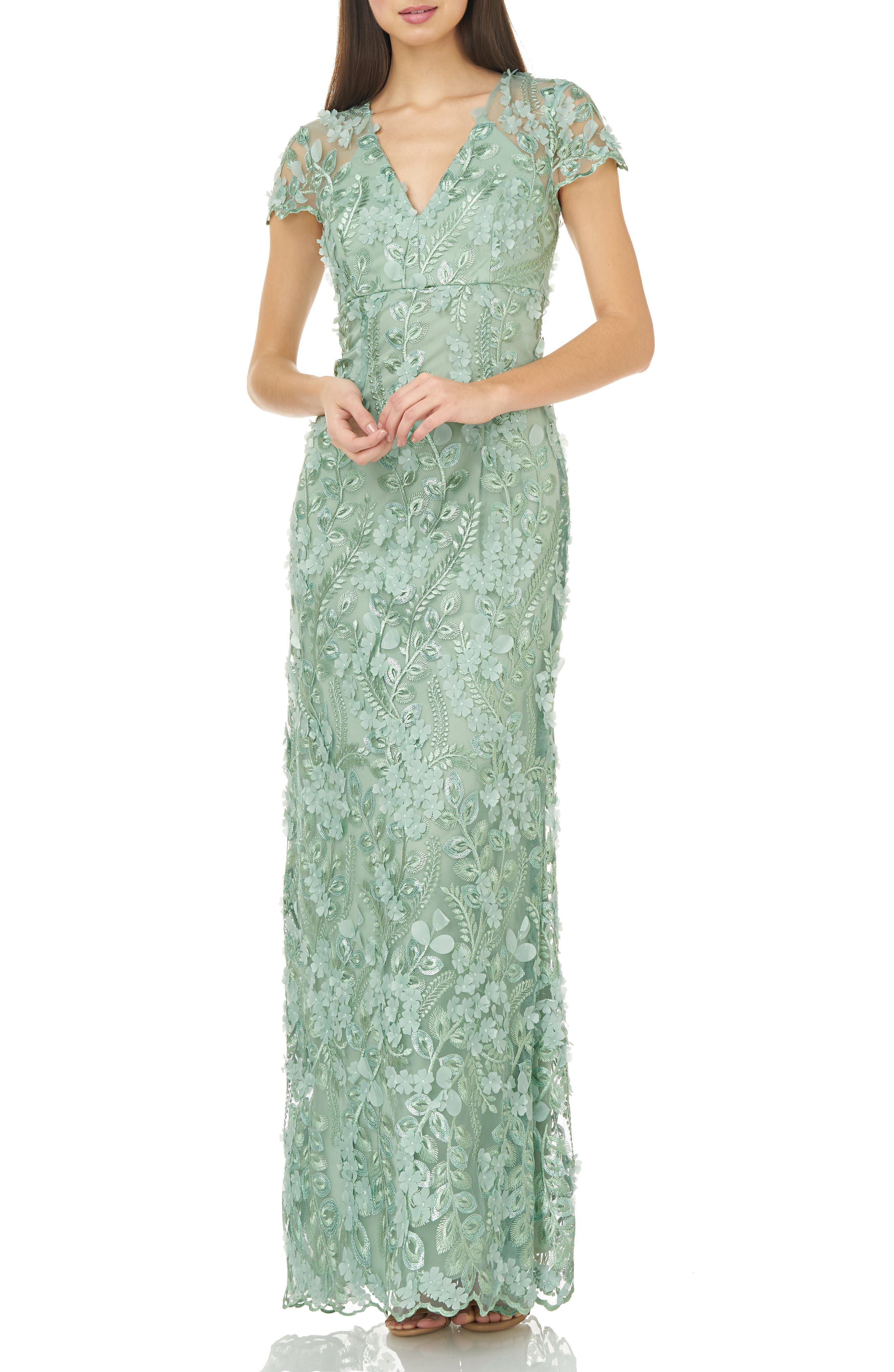 CARMEN MARC VALVO INFUSION, Petals Embellished Gown, Main thumbnail 1, color, CELADON