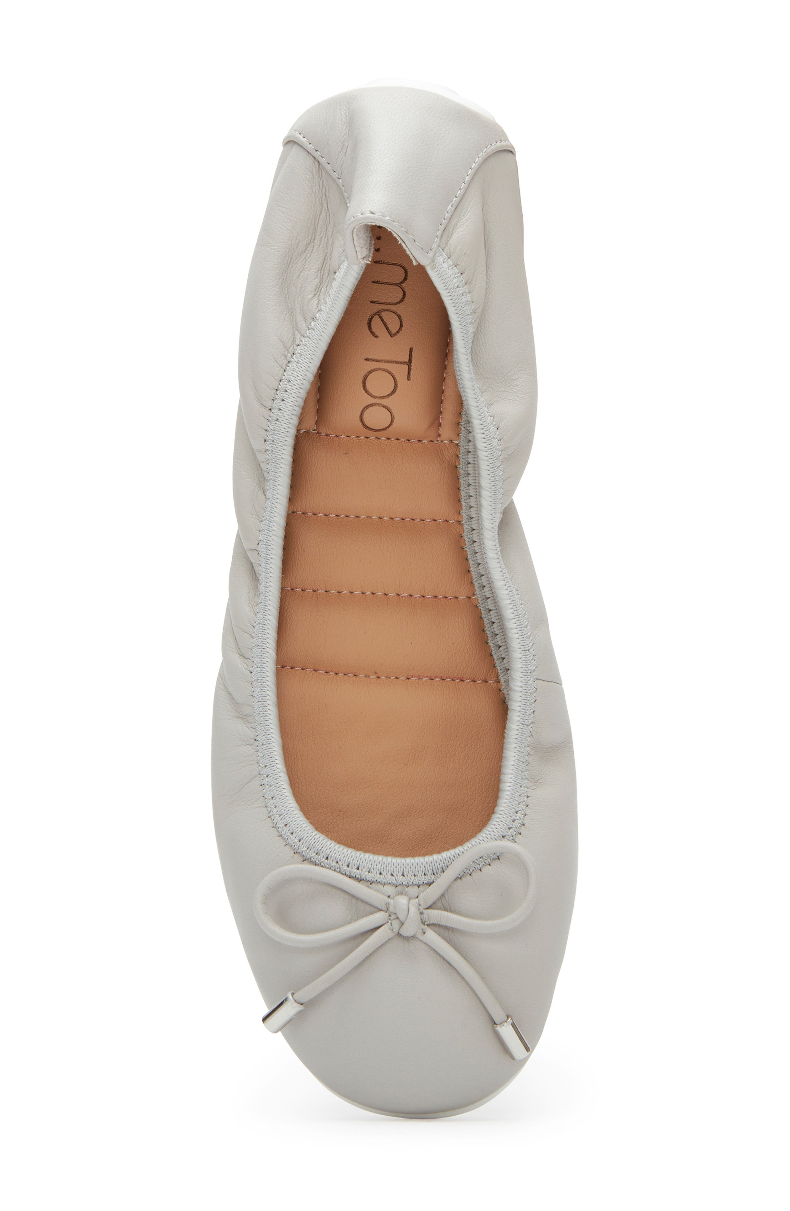 ME TOO, 'Halle 2.0' Ballet Flat, Alternate thumbnail 5, color, LIGHT GREY LEATHER