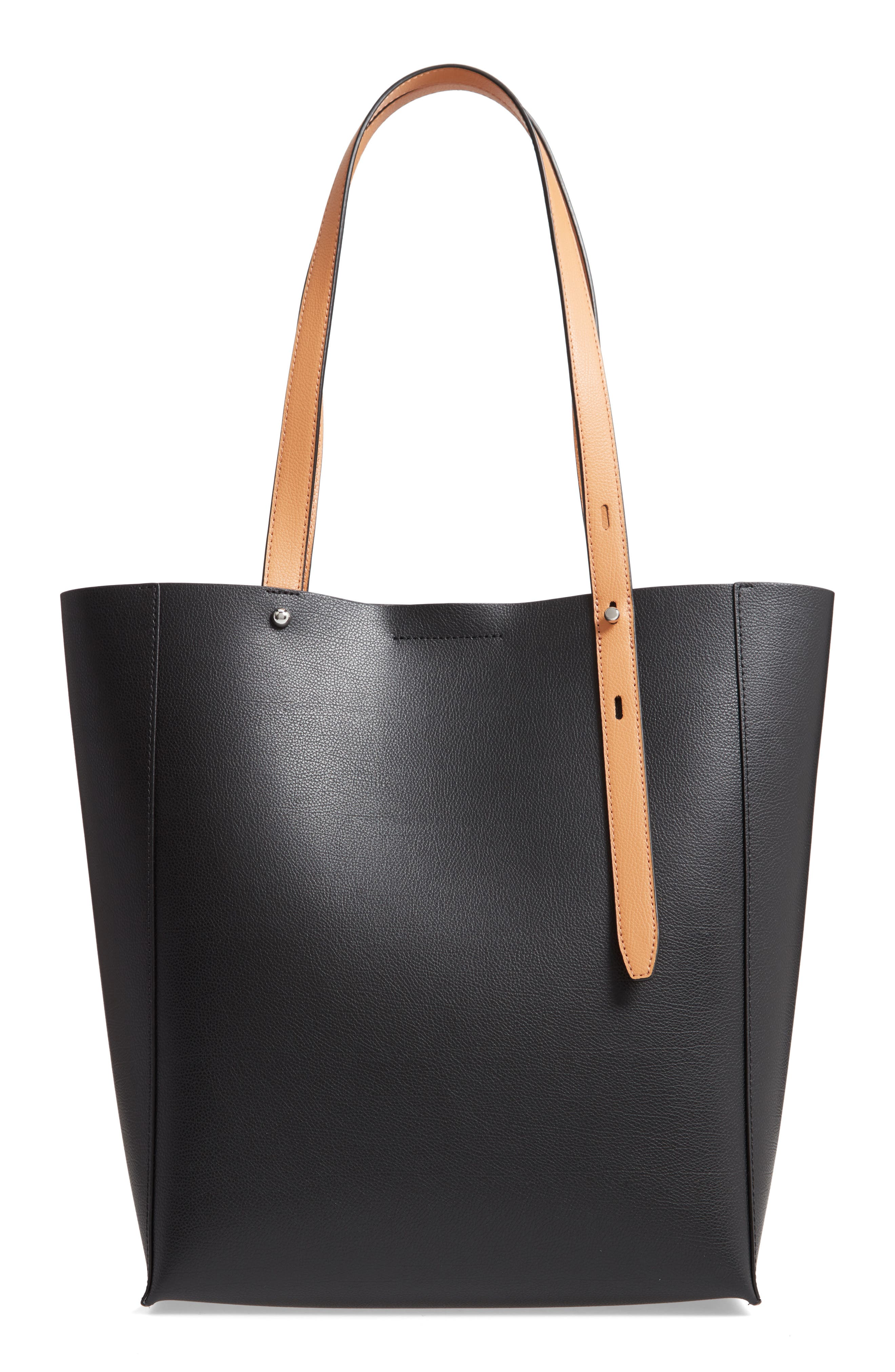 REBECCA MINKOFF, Stella Leather Tote, Main thumbnail 1, color, BLACK/ HONEY
