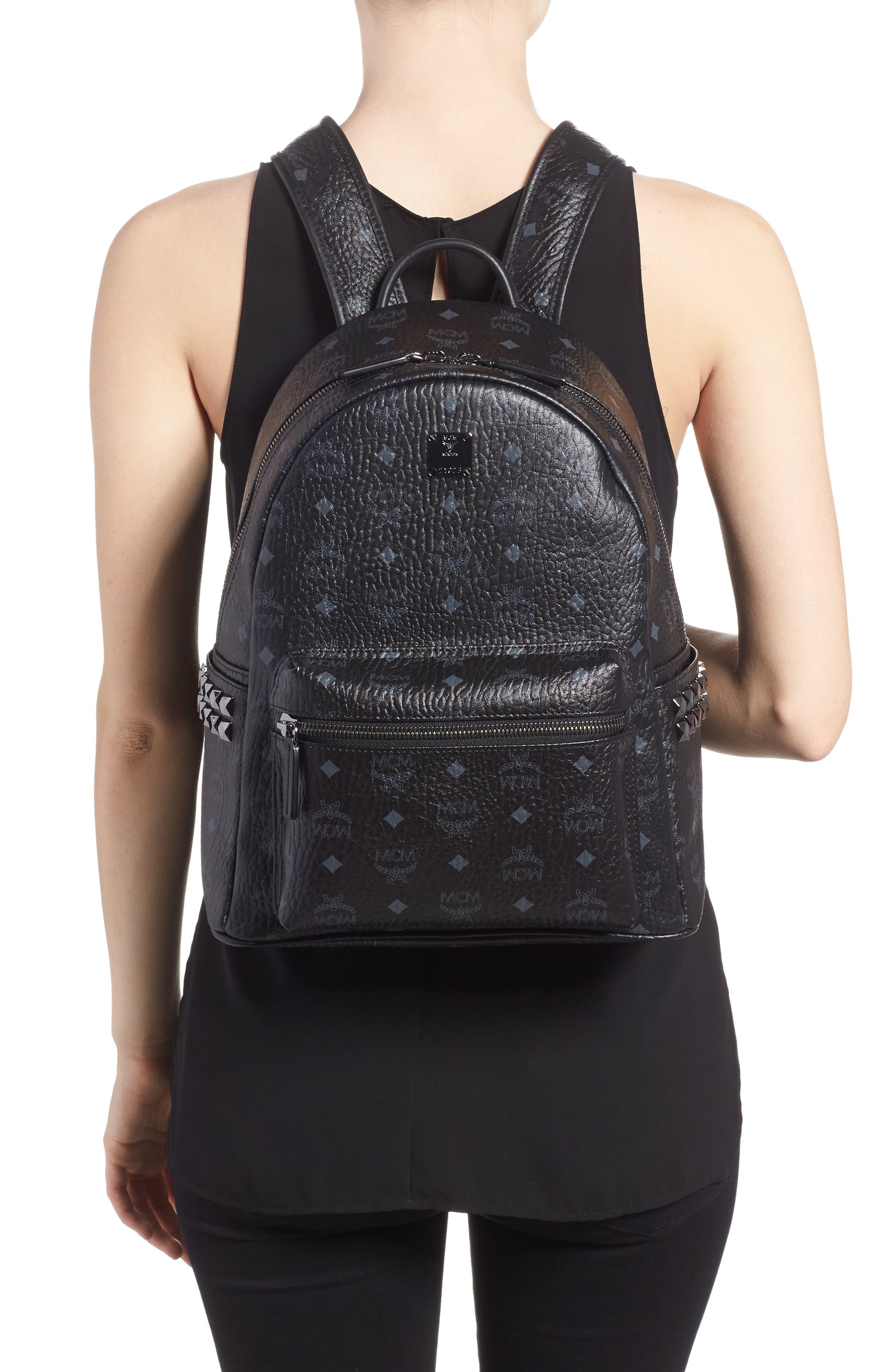 MCM, Medium Stark Side Stud Coated Canvas Backpack, Alternate thumbnail 2, color, BLACK