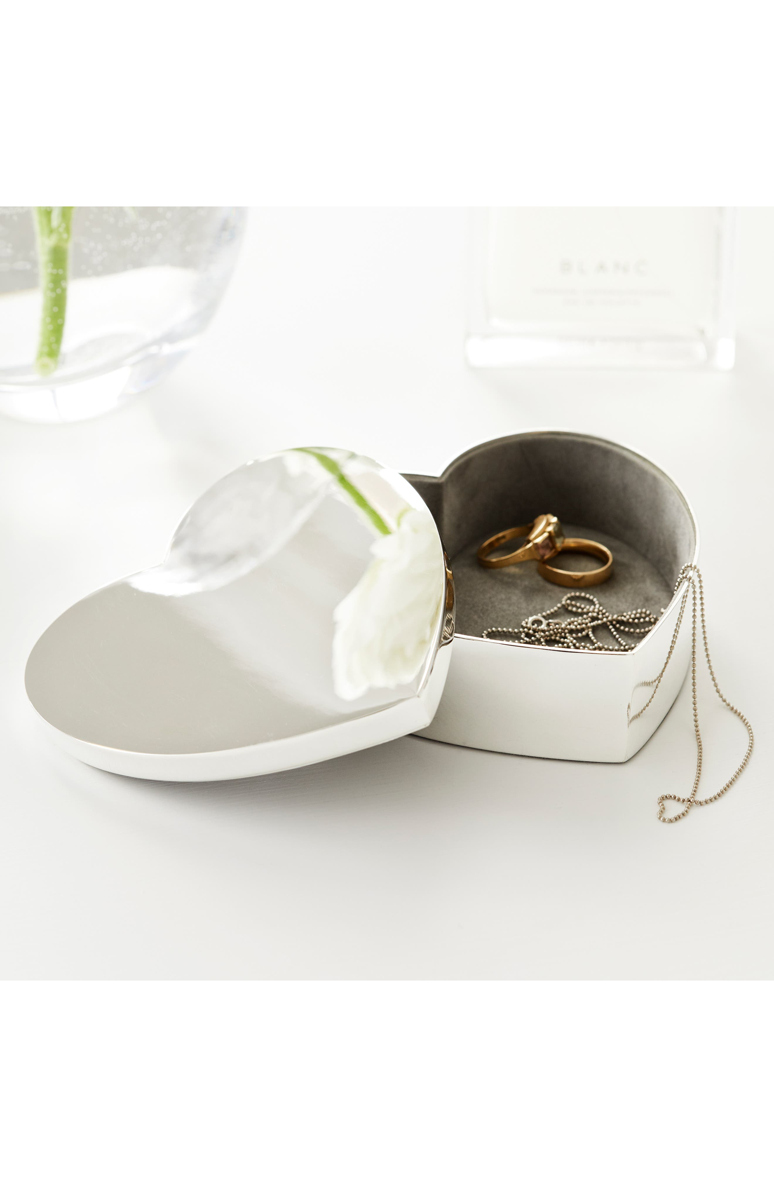 THE WHITE COMPANY, Silver Plated Heart Box, Alternate thumbnail 2, color, SILVER