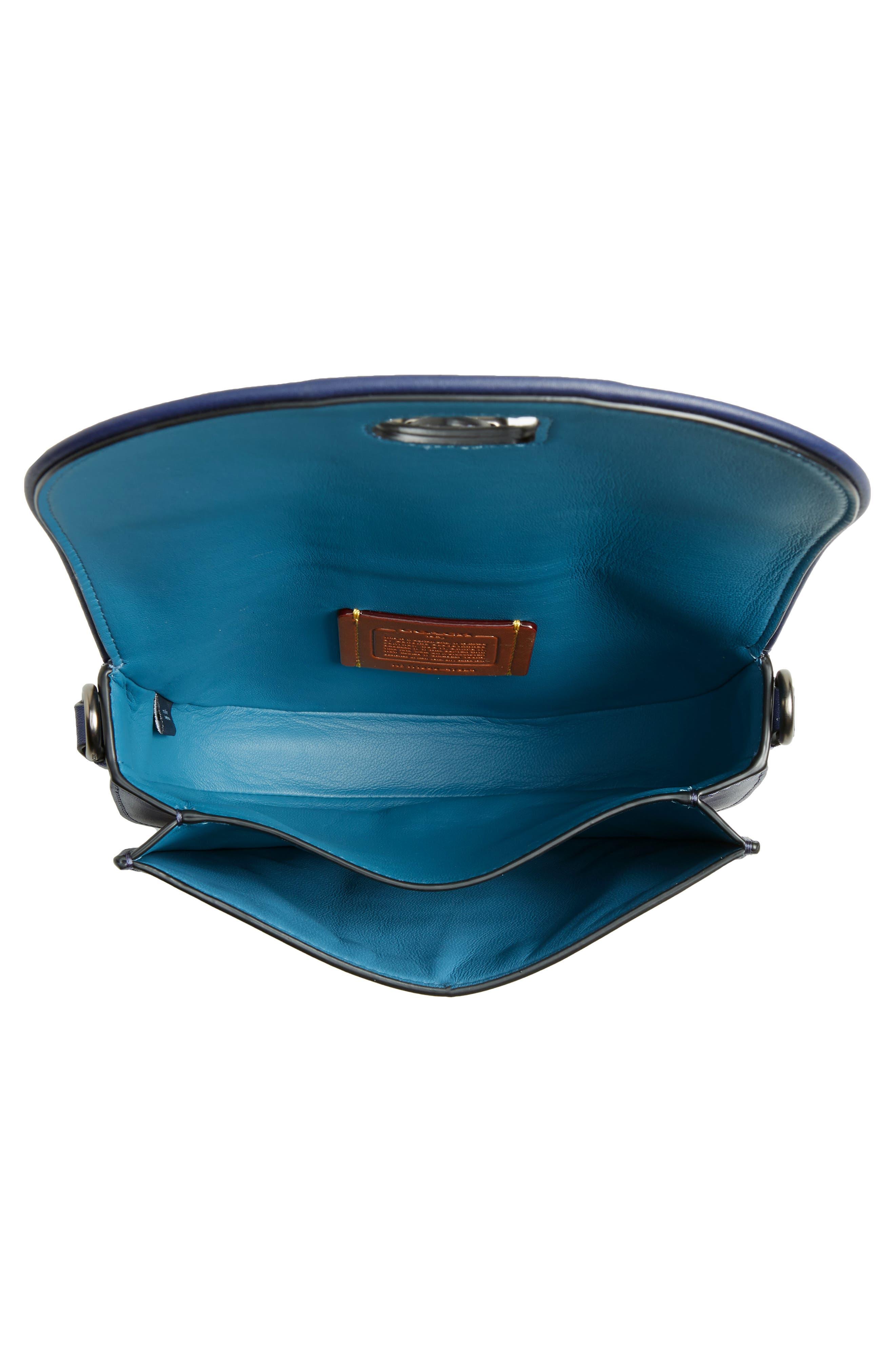 COACH, Saddle 20 Leather Saddle Bag, Alternate thumbnail 5, color, CADET