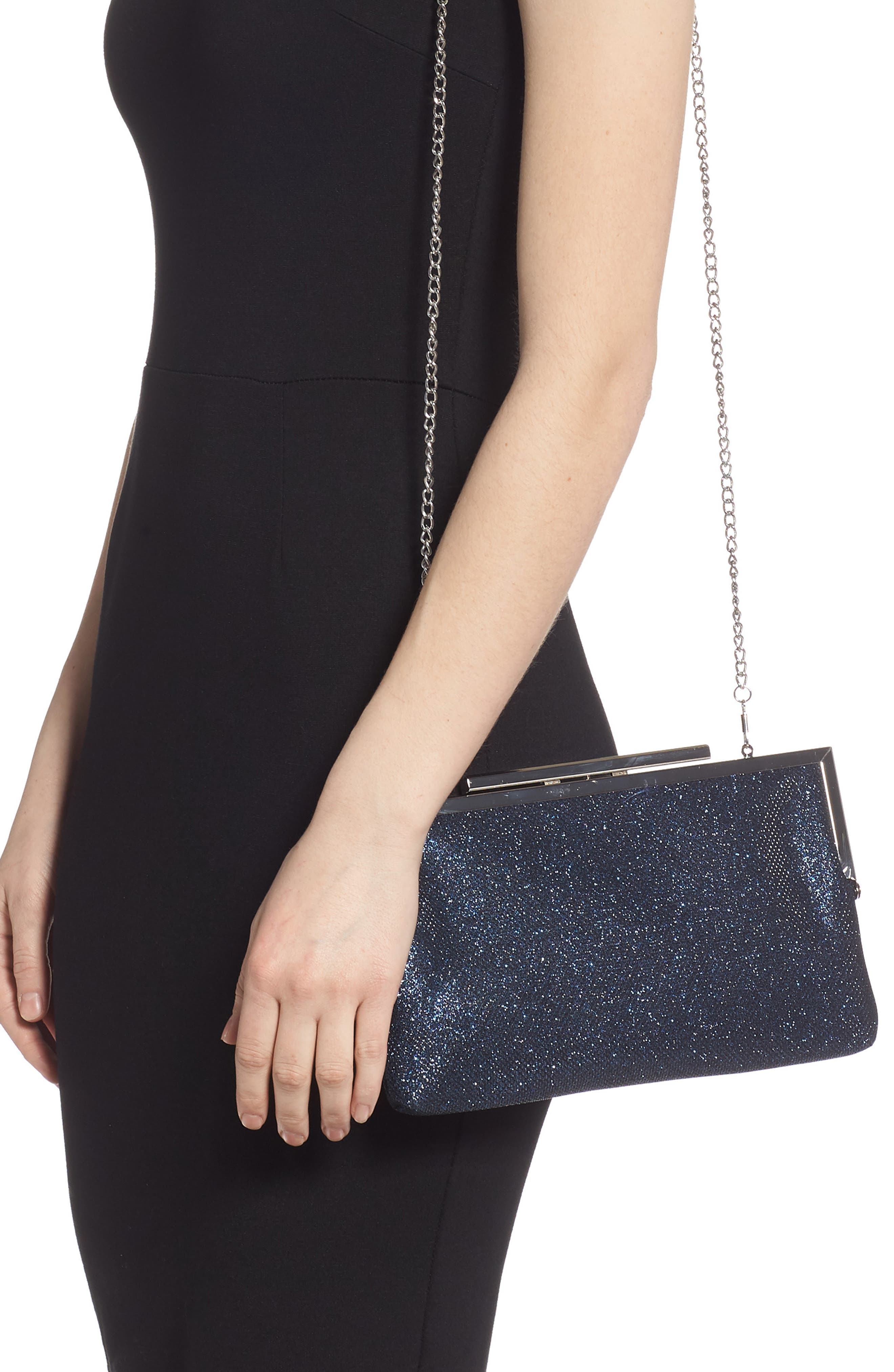 NINA, Louella Metallic Mesh Clutch, Alternate thumbnail 2, color, NAVY