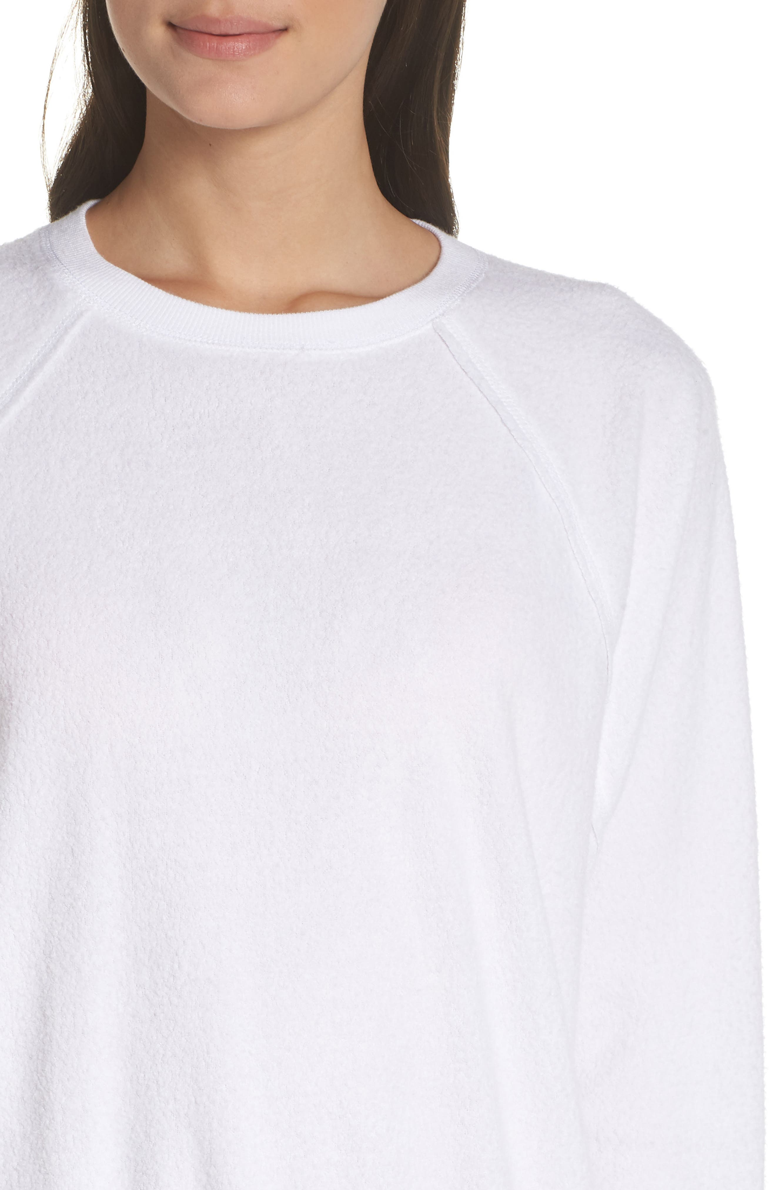 SOMETHING NAVY, Batwing Fleece Pullover, Alternate thumbnail 5, color, WHITE