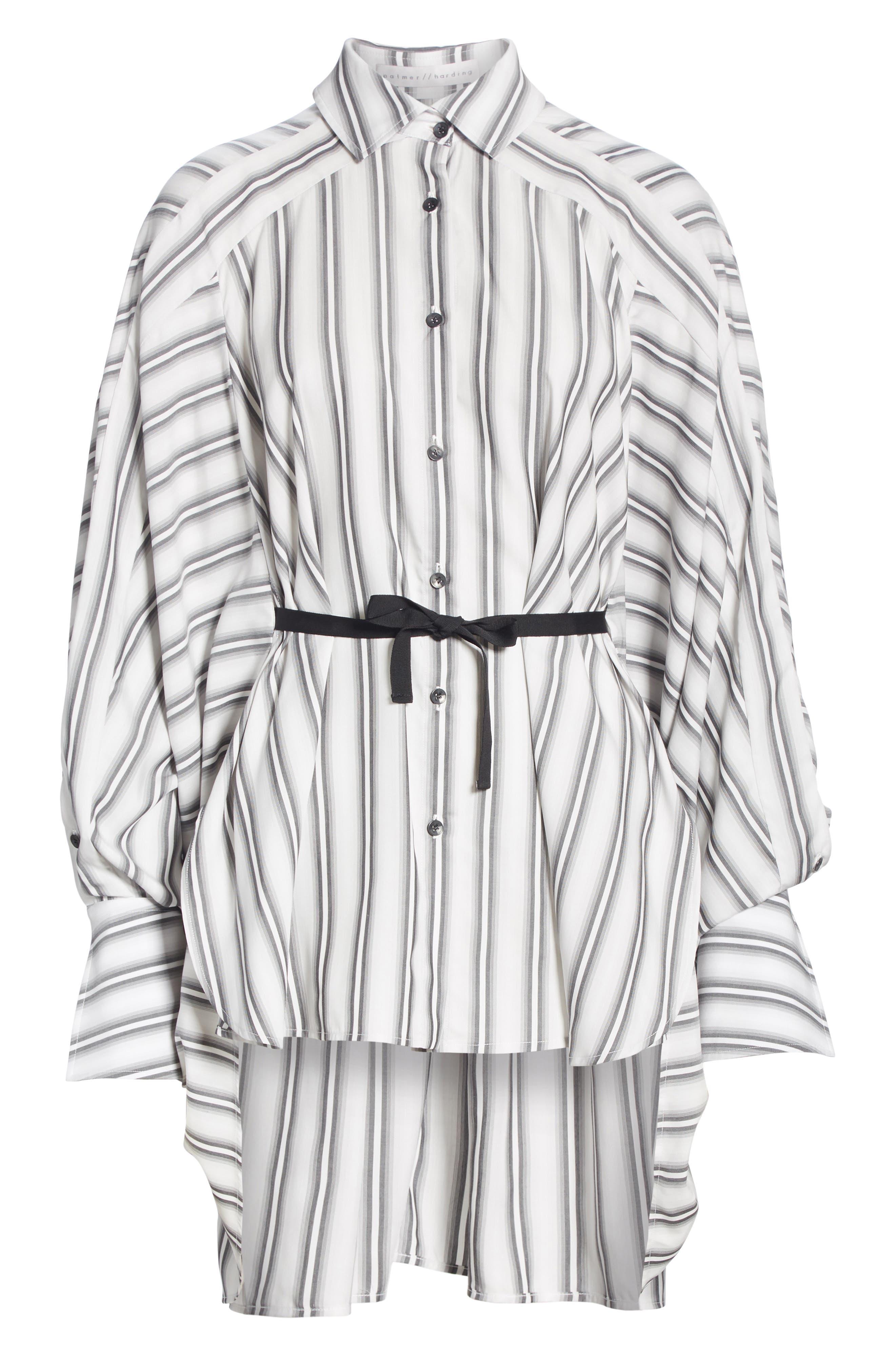 PALMER/HARDING, Streep Stripe Shirt, Alternate thumbnail 6, color, GRADIENT STRIPE WITH BLACK