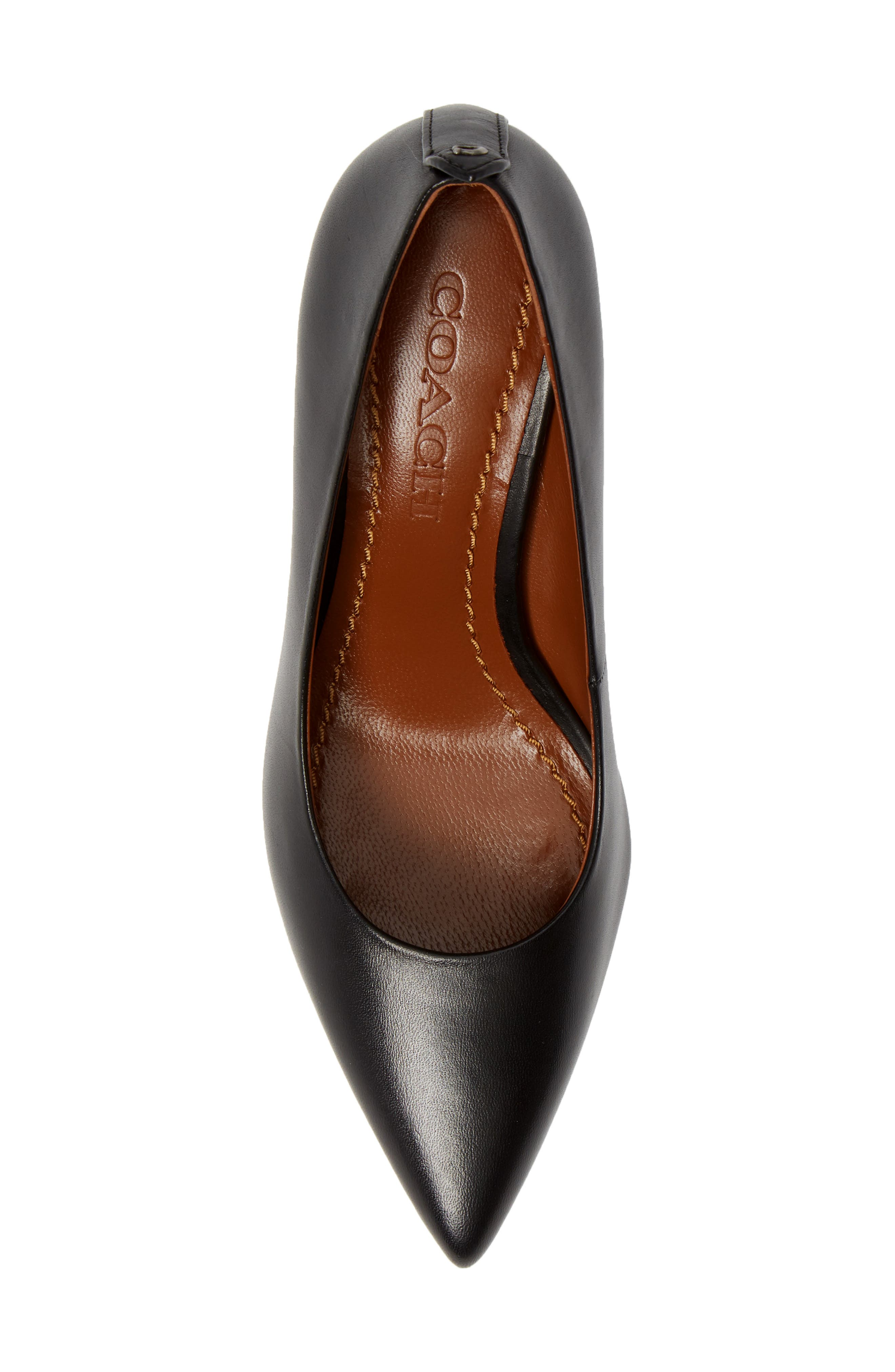COACH, Waverly Mid Heel Pump, Alternate thumbnail 5, color, BLACK LEATHER
