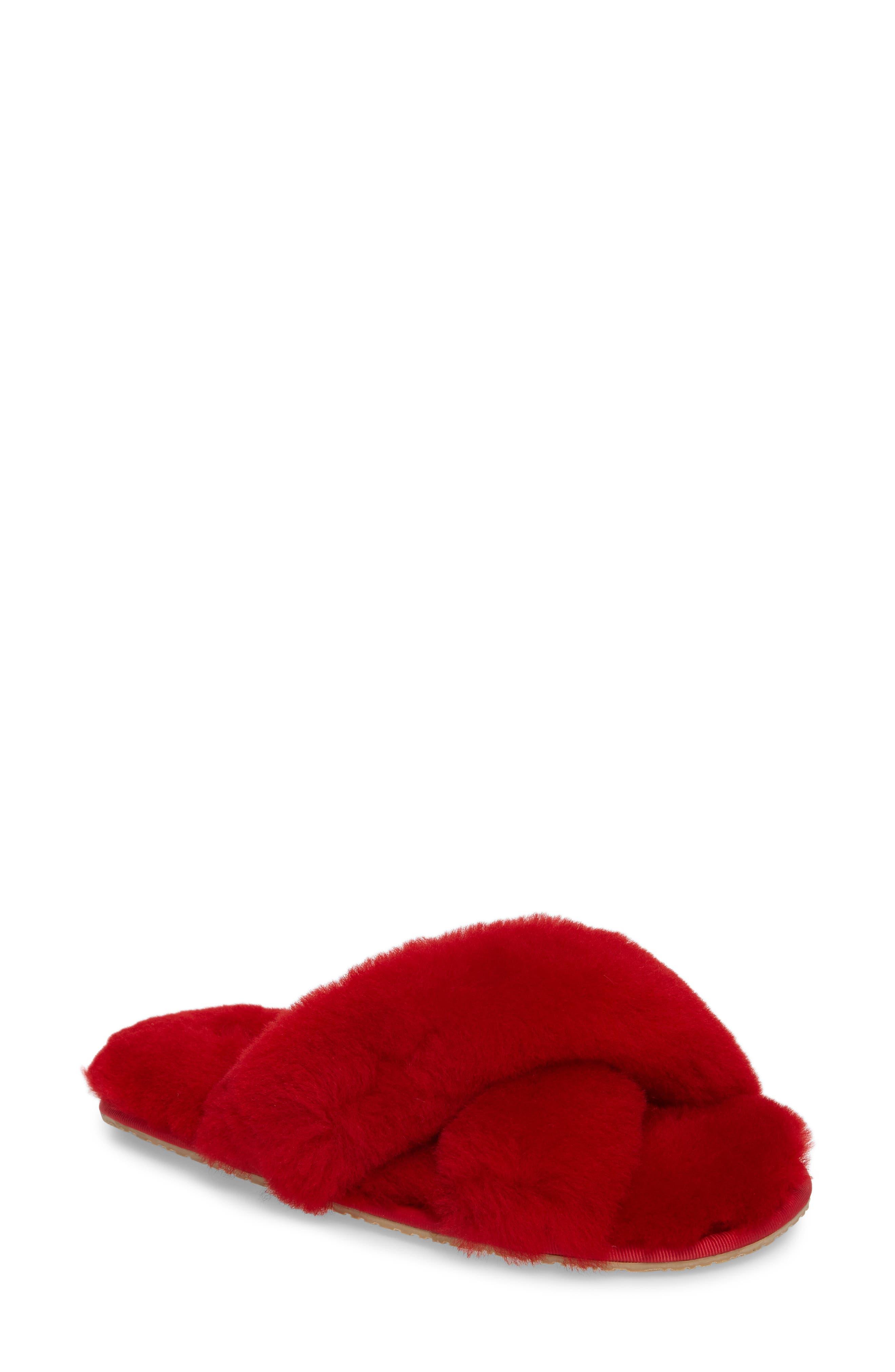 PATRICIA GREEN, Mt. Hood Genuine Shearling Slipper, Main thumbnail 1, color, RED
