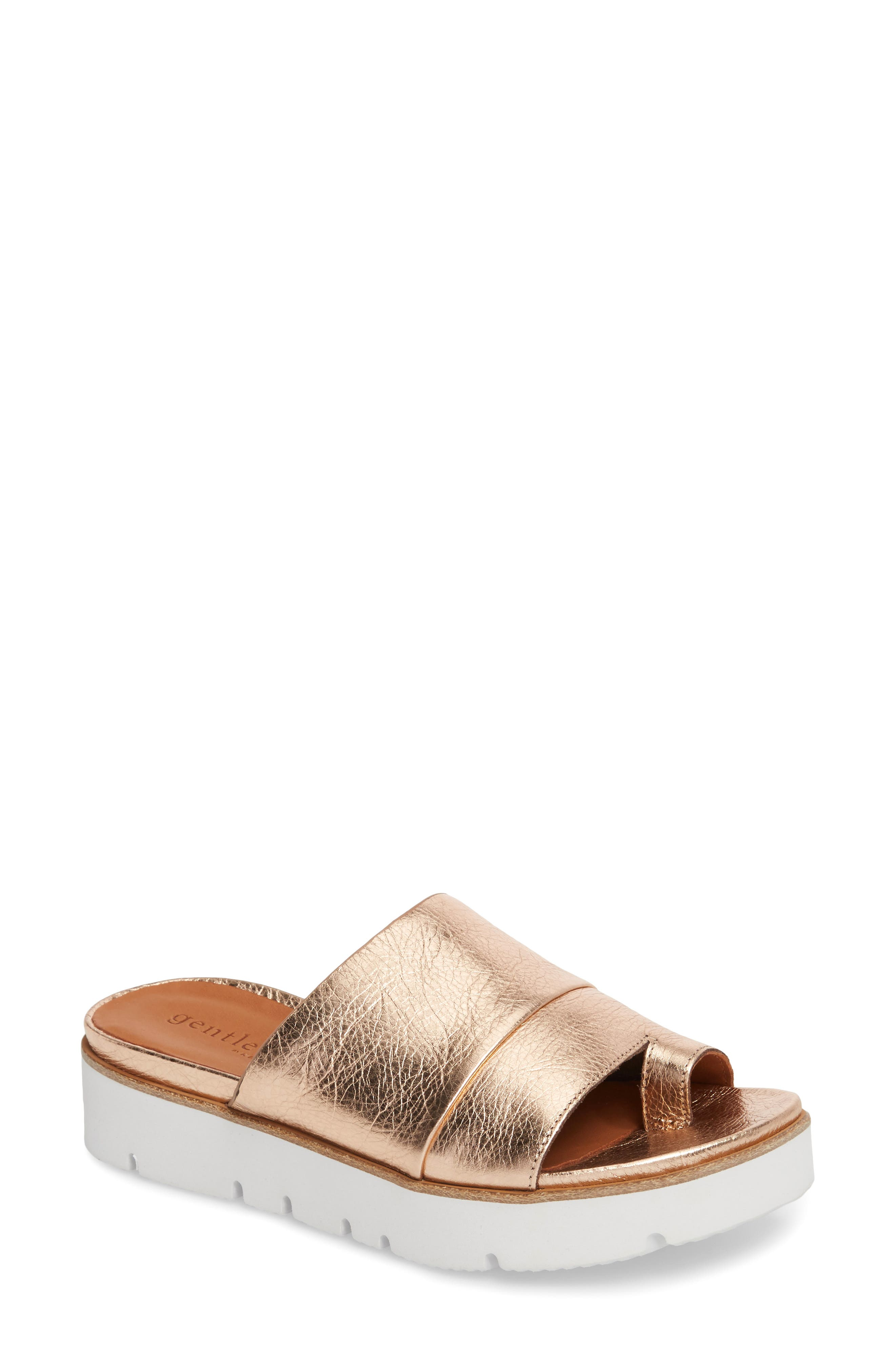 GENTLE SOULS BY KENNETH COLE, Lavern Slide Sandal, Main thumbnail 1, color, ROSE GOLD METALLIC LEATHER