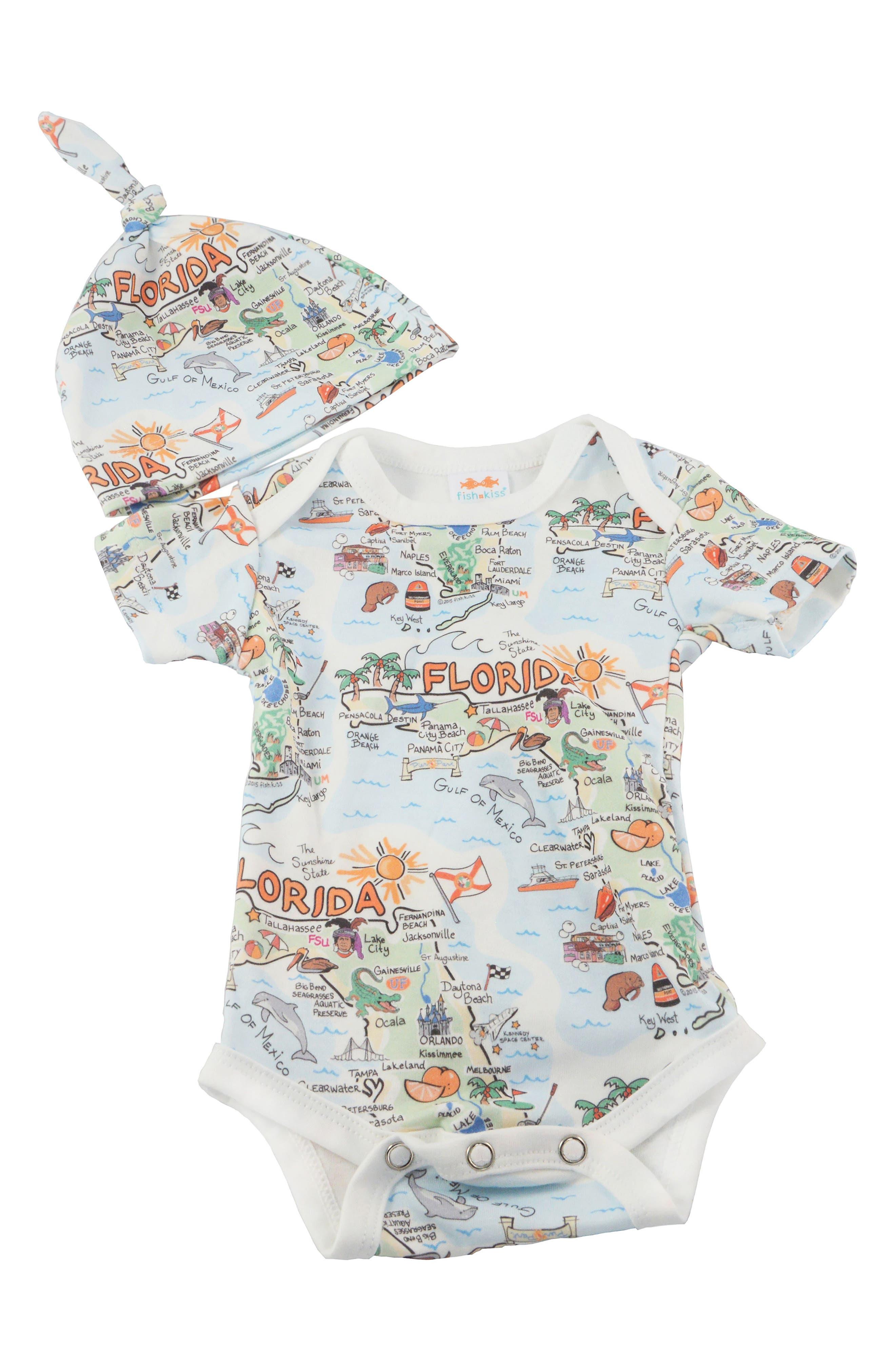 FISH KISS, State Map Print Organic Cotton Bodysuit & Hat, Main thumbnail 1, color, FLORIDA
