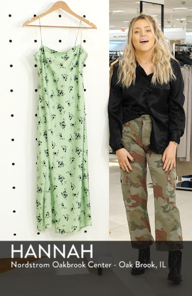 Apple Flower Satin Slip Dress, sales video thumbnail