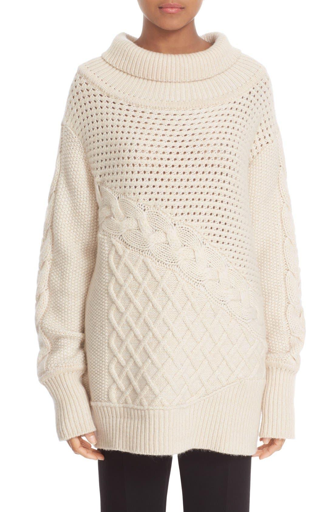PRABAL GURUNG, Cable Knit Cashmere Sweater, Main thumbnail 1, color, 904