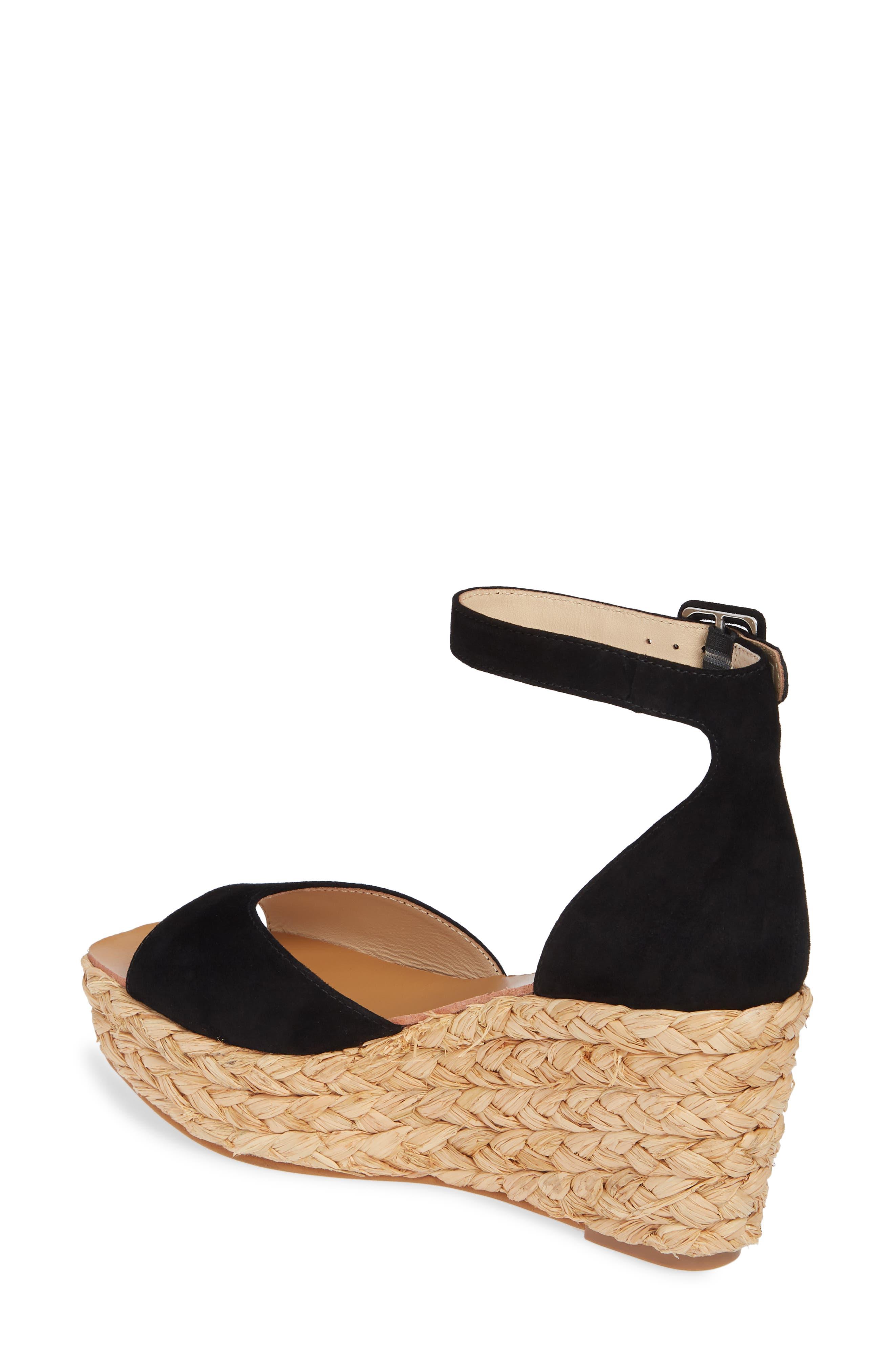 42 GOLD, Mindie Platform Wedge Sandal, Alternate thumbnail 2, color, BLACK SUEDE