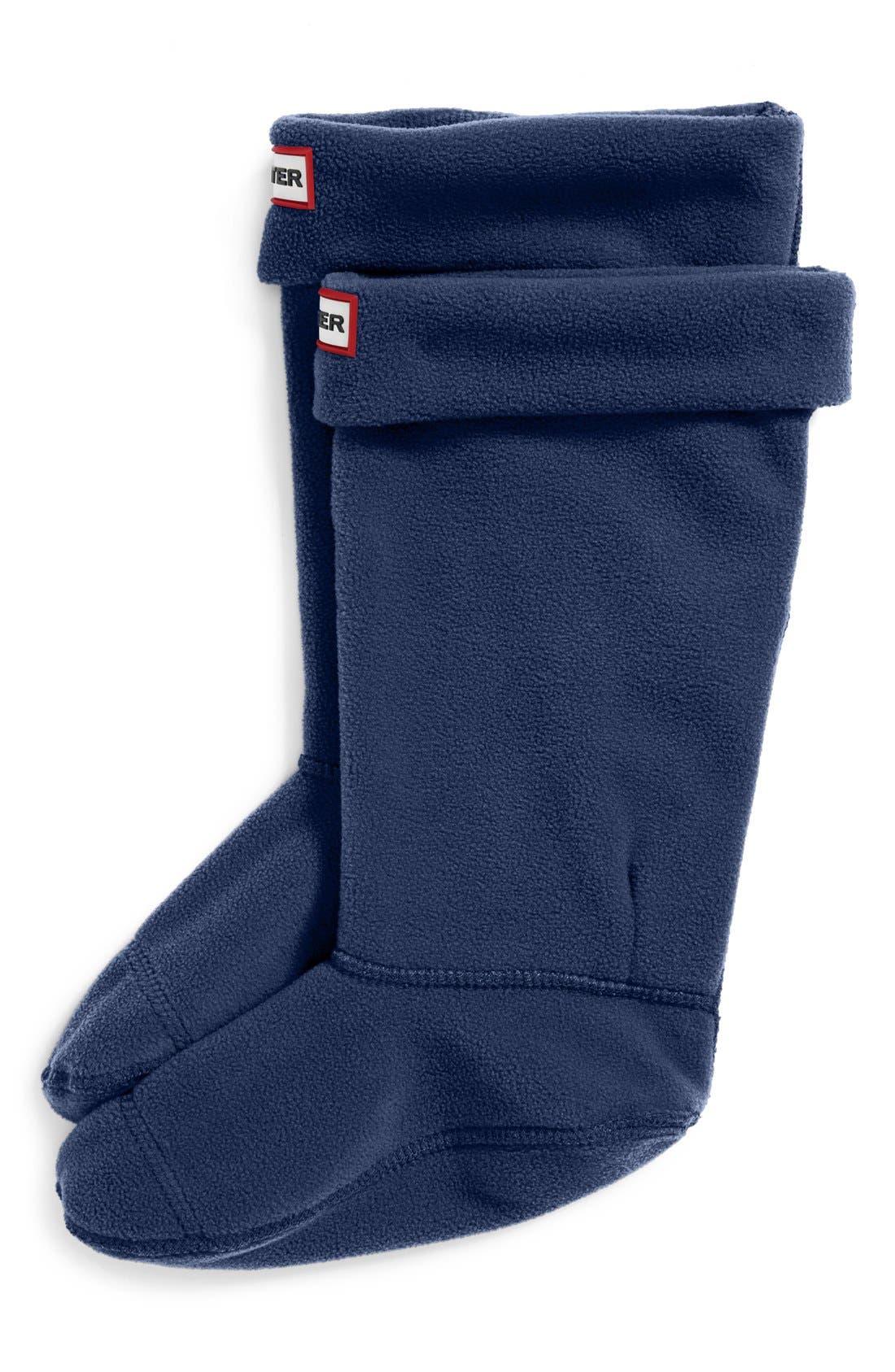 HUNTER Fleece Welly Boot Socks, Main, color, NAVY