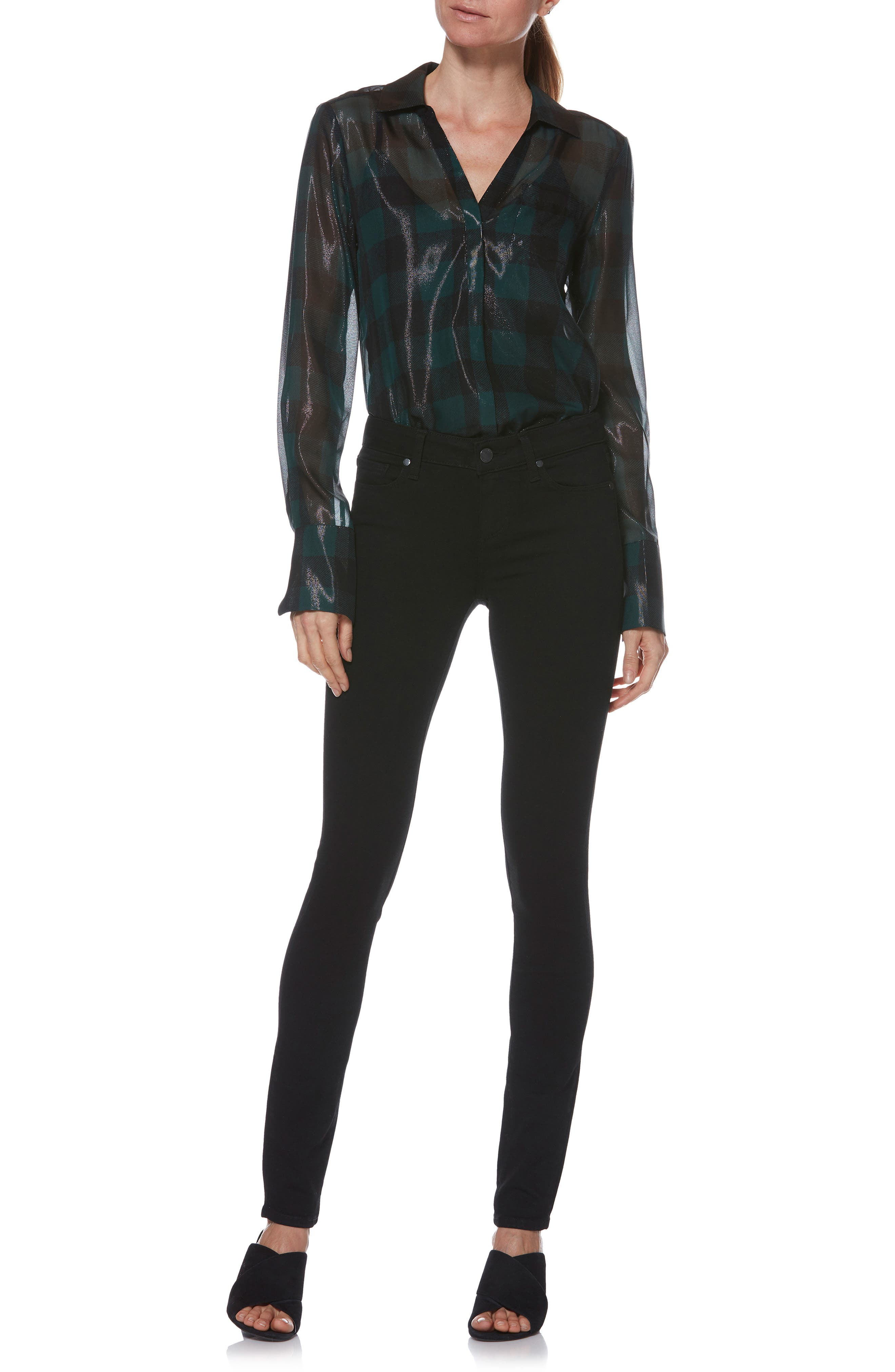 PAIGE, Transcend - Skyline Skinny Jeans, Alternate thumbnail 14, color, BLACK SHADOW