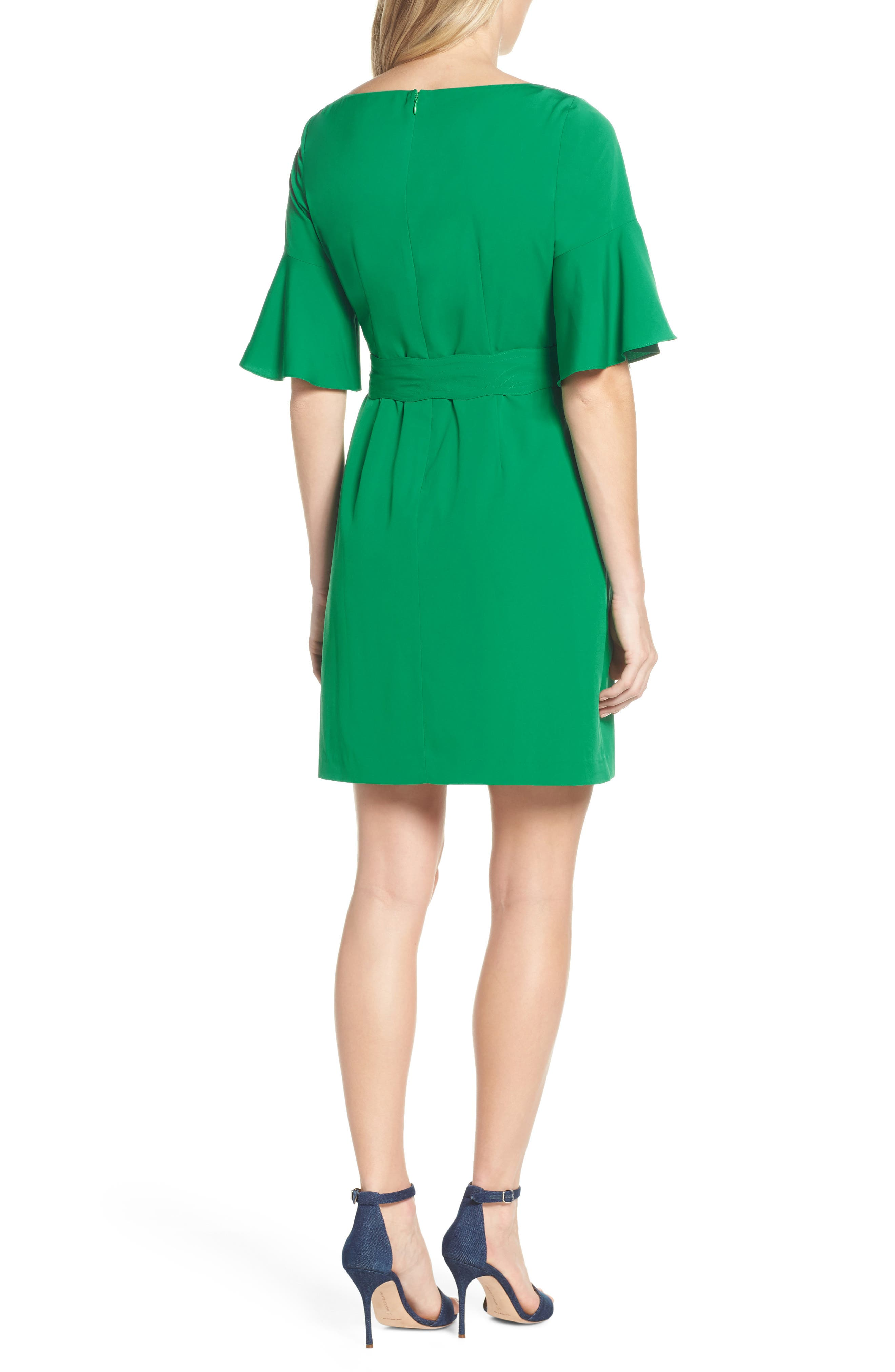 ELIZA J, Bell Sleeve Sheath Dress, Alternate thumbnail 2, color, GREEN