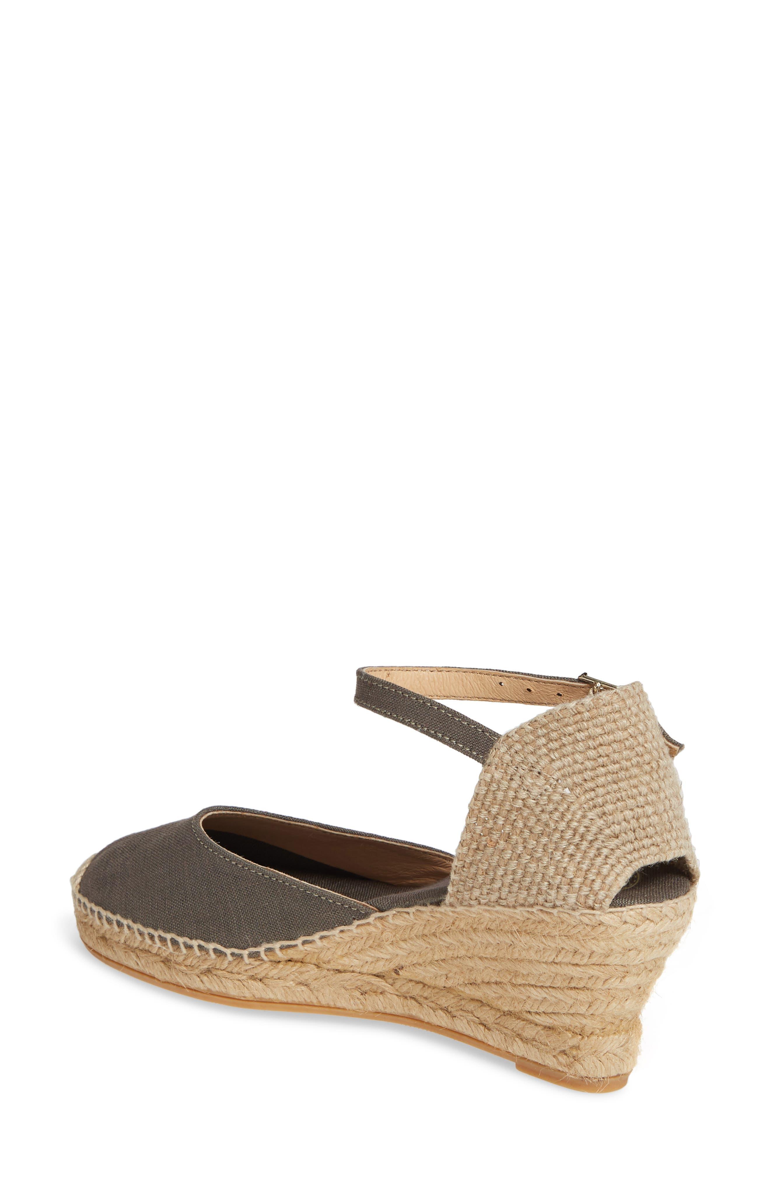 TONI PONS, 'Caldes' Linen Wedge Sandal, Alternate thumbnail 2, color, KHAKI FABRIC