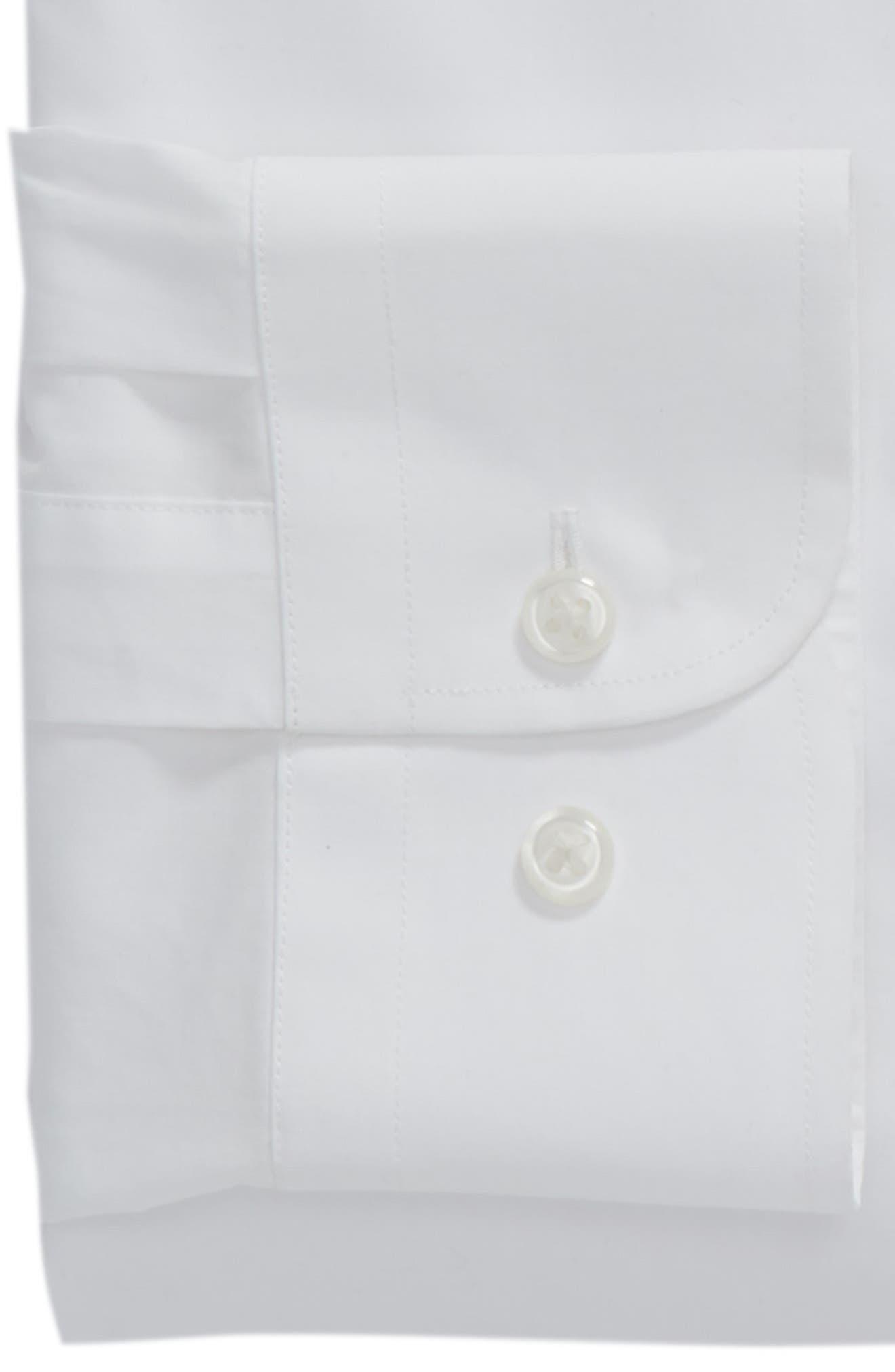 1901, Trim Fit Solid Dress Shirt, Alternate thumbnail 6, color, WHITE