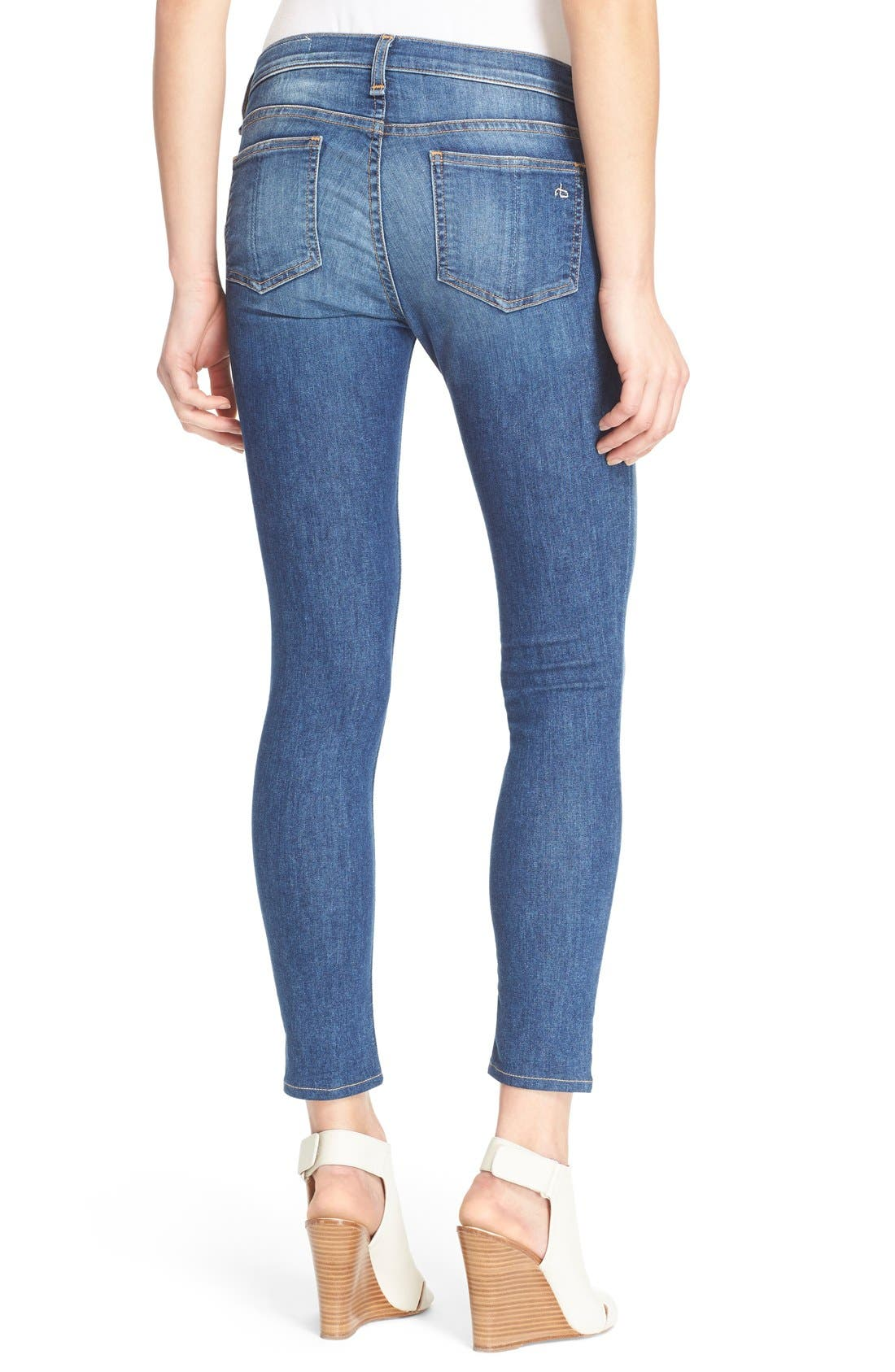 RAG & BONE, Capri Crop Skinny Jeans, Alternate thumbnail 5, color, RAE