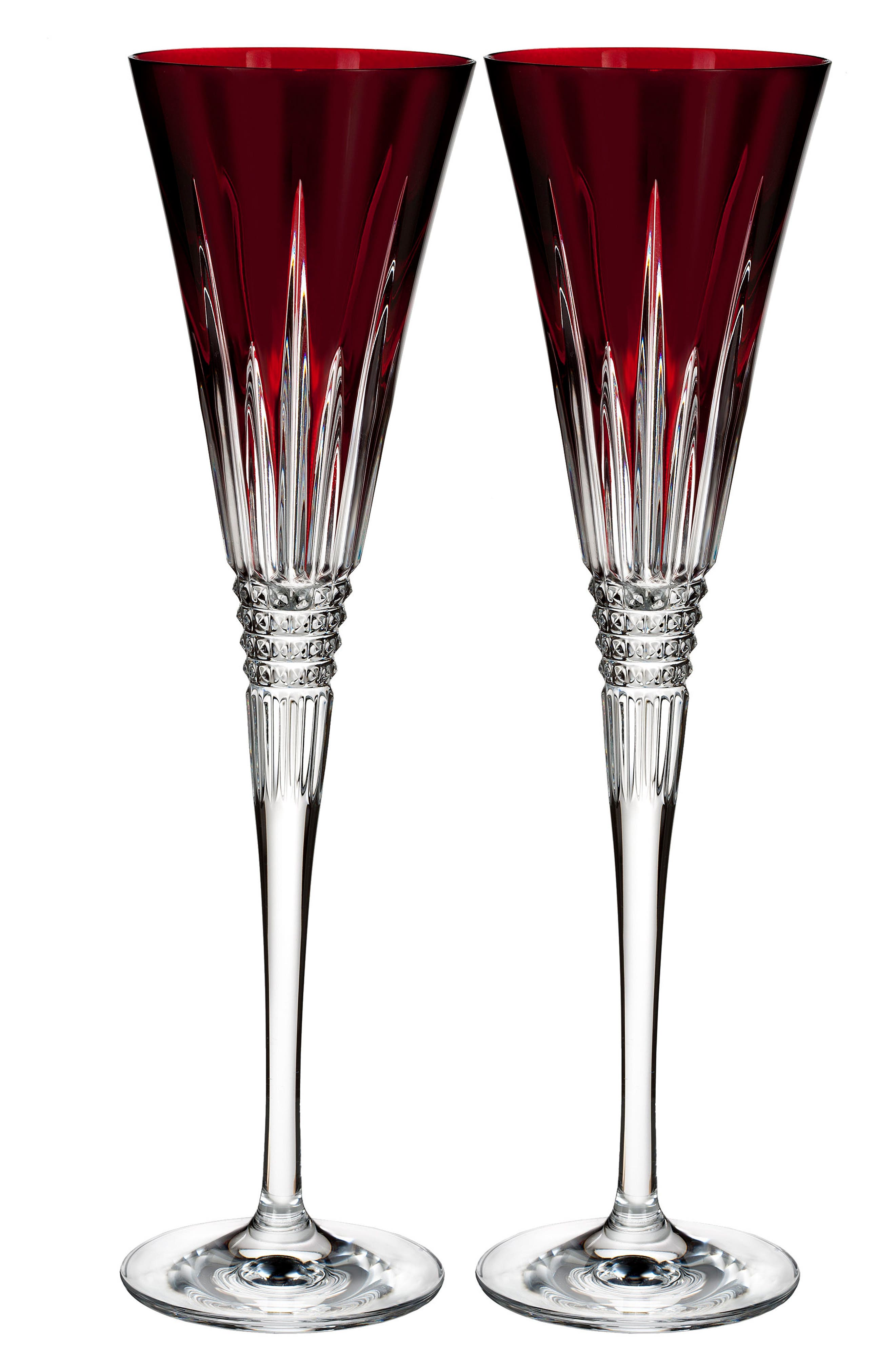 WATERFORD, Lismore Diamond Set of 2 Red Lead Crystal Champagne Flutes, Main thumbnail 1, color, CRYSTAL