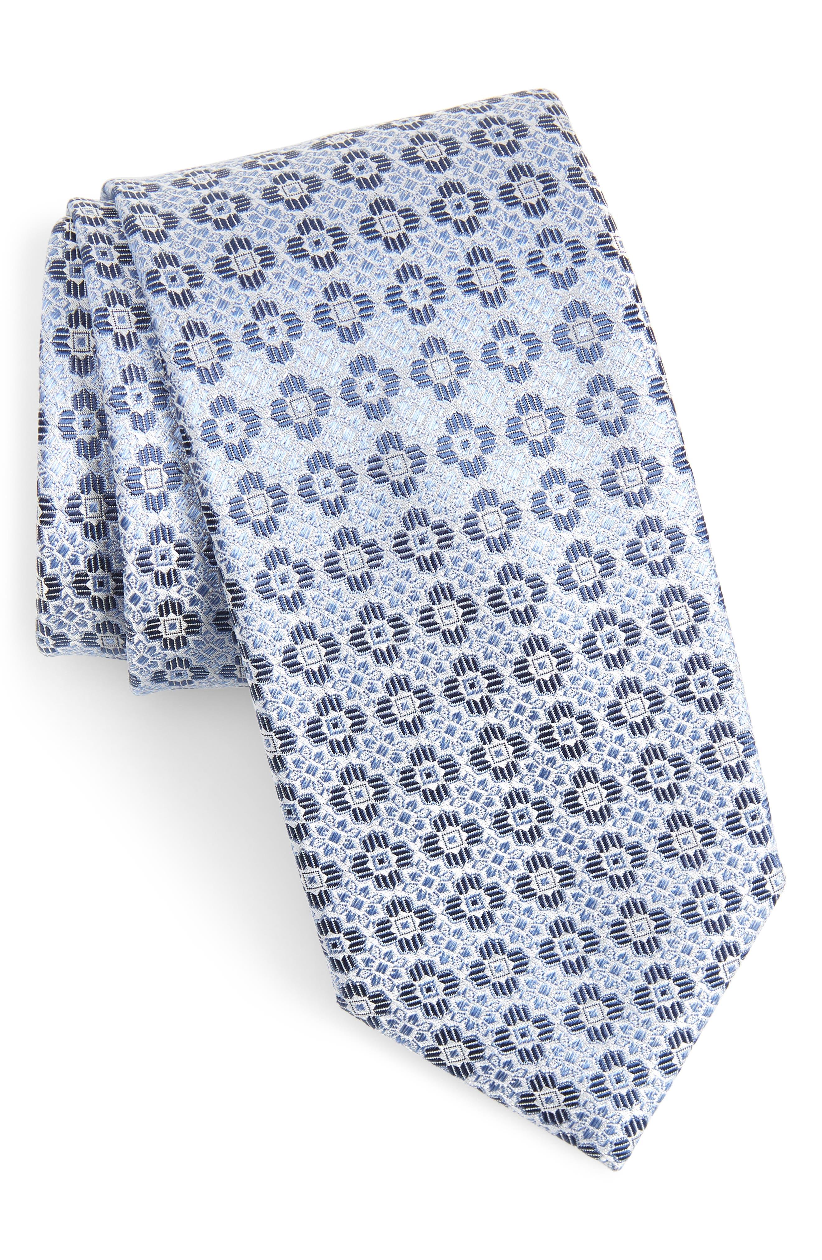 CANALI, Medallion Silk Tie, Main thumbnail 1, color, LIGHT BLUE