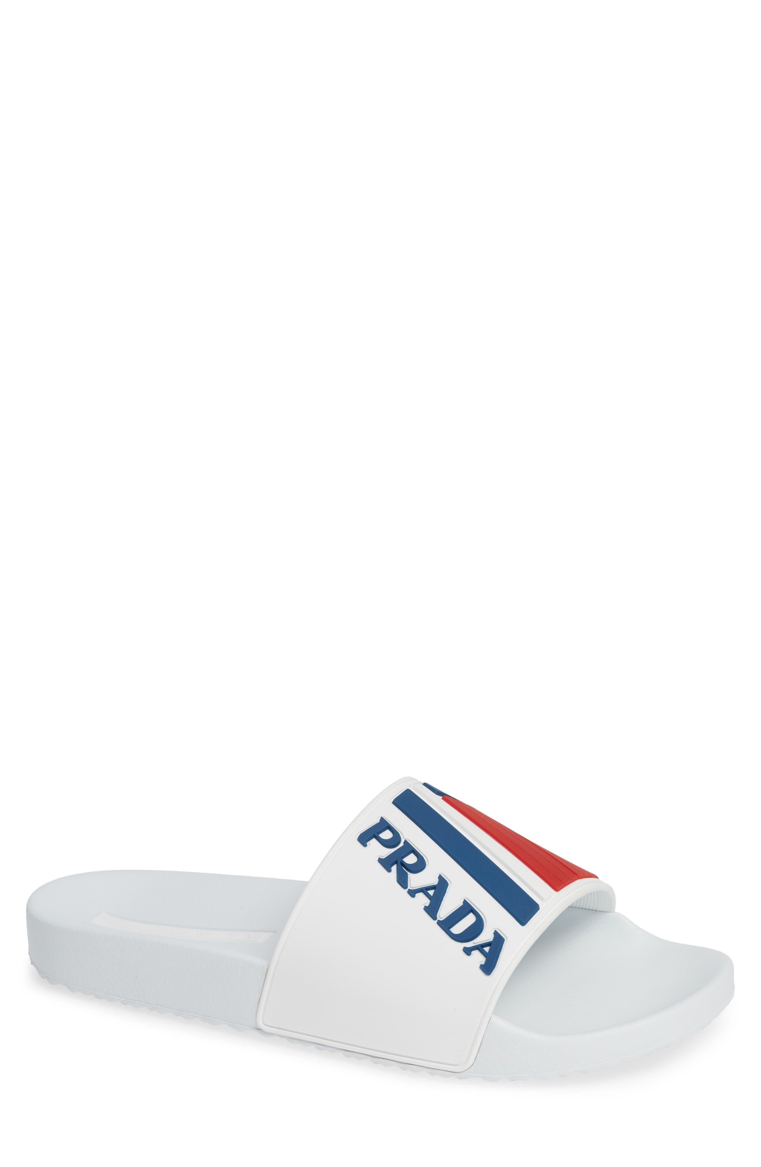 PRADA, Linea Rossa Logo Slide Sandal, Main thumbnail 1, color, WHITE/ BLUE