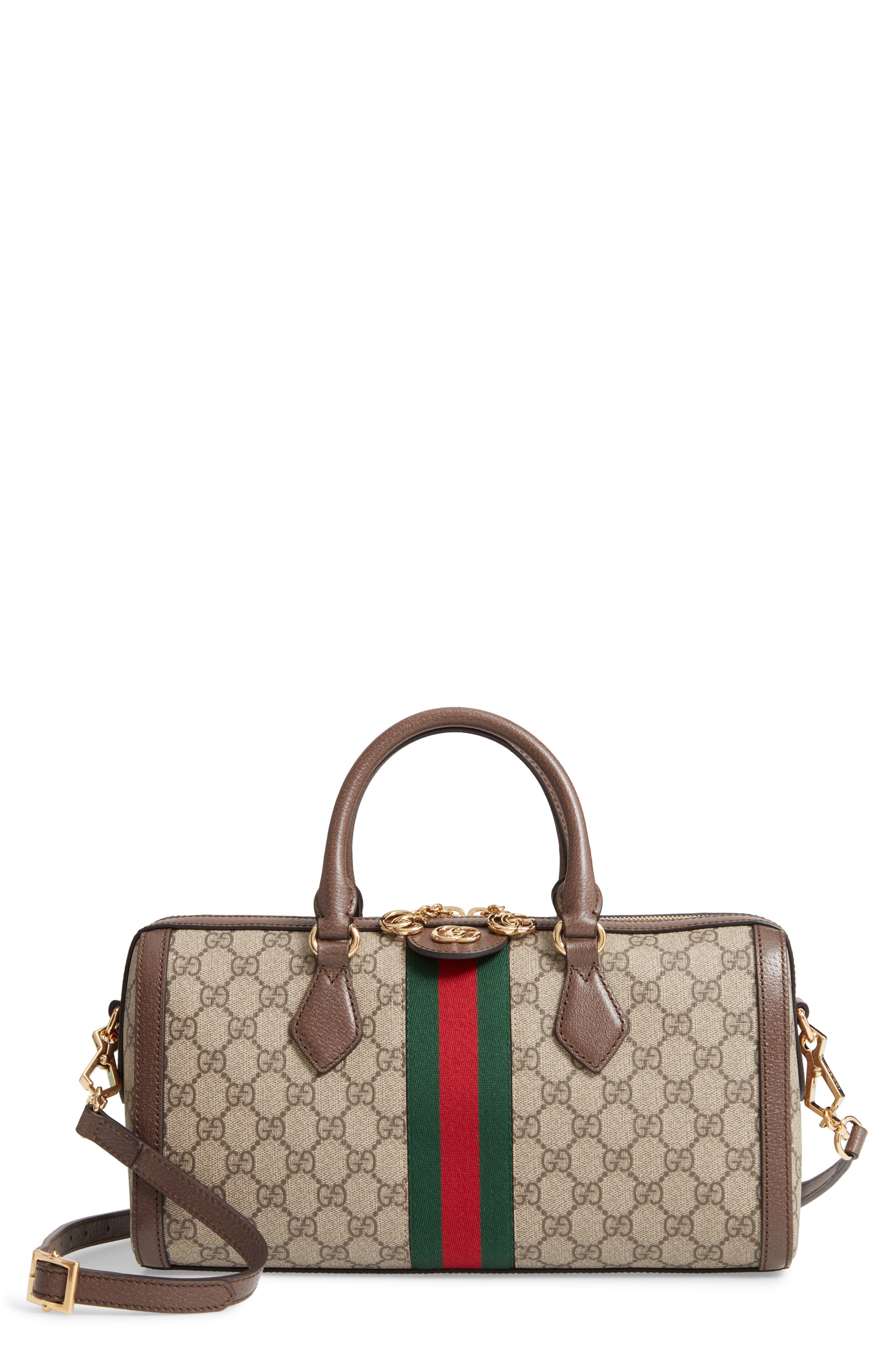 GUCCI, Ophidia GG Supreme Canvas Top Handle Bag, Main thumbnail 1, color, BEIGE EBONY/ ACERO/ VERT RED